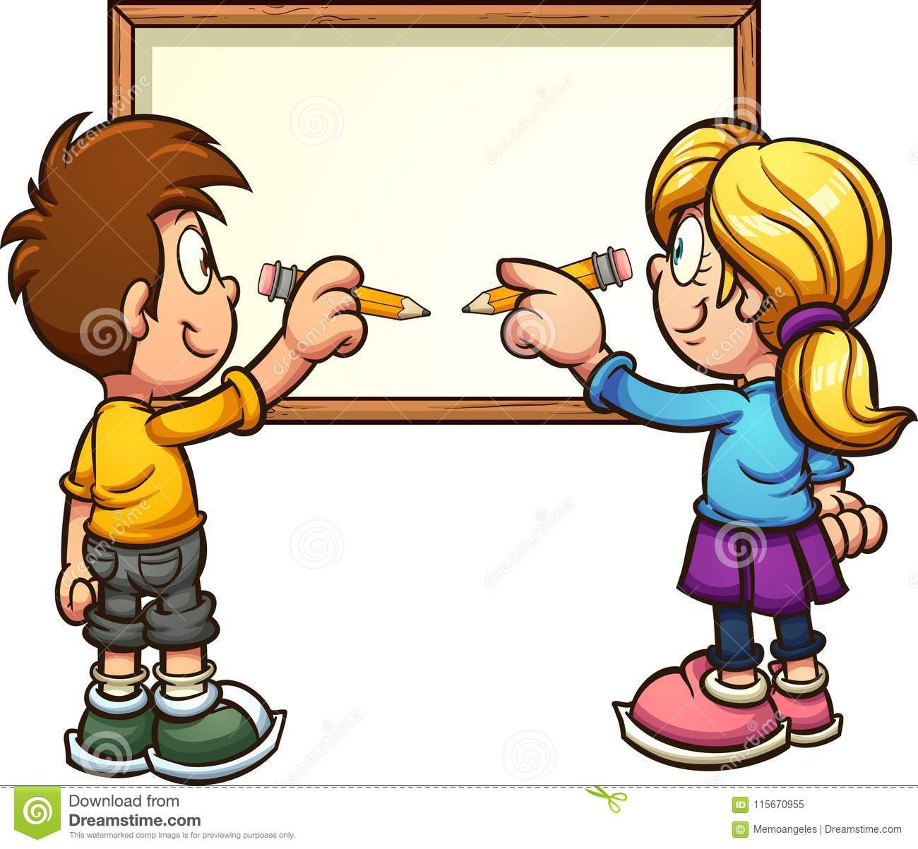 cartoon boy and girl writing on white board stock vector