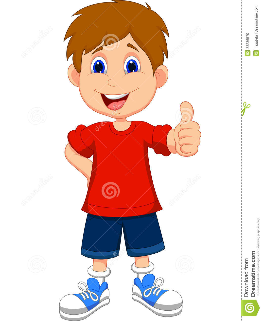 Cartoon Boy Giving You Thumbs Up Stock Vector