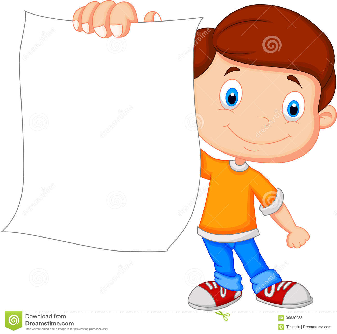 Cartoon Boy Holding Blank Paper Stock Vector - Image: 39820055