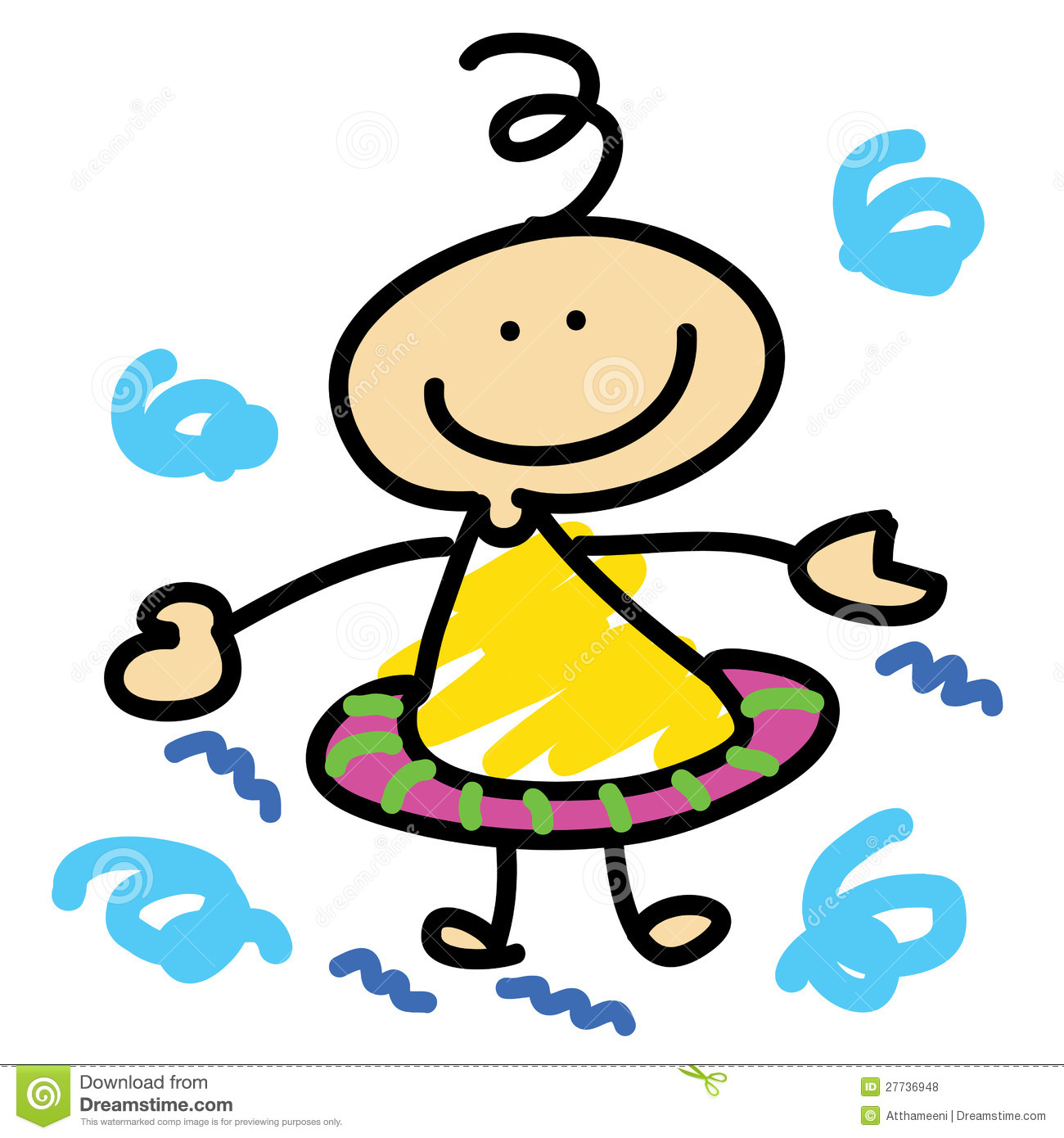 Cartoon boy learn swimming stock illustration ...