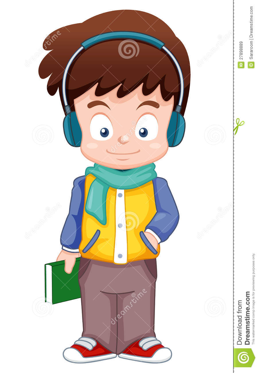 Cartoon Boy Listen Music Royalty Free Stock Images - Image ...