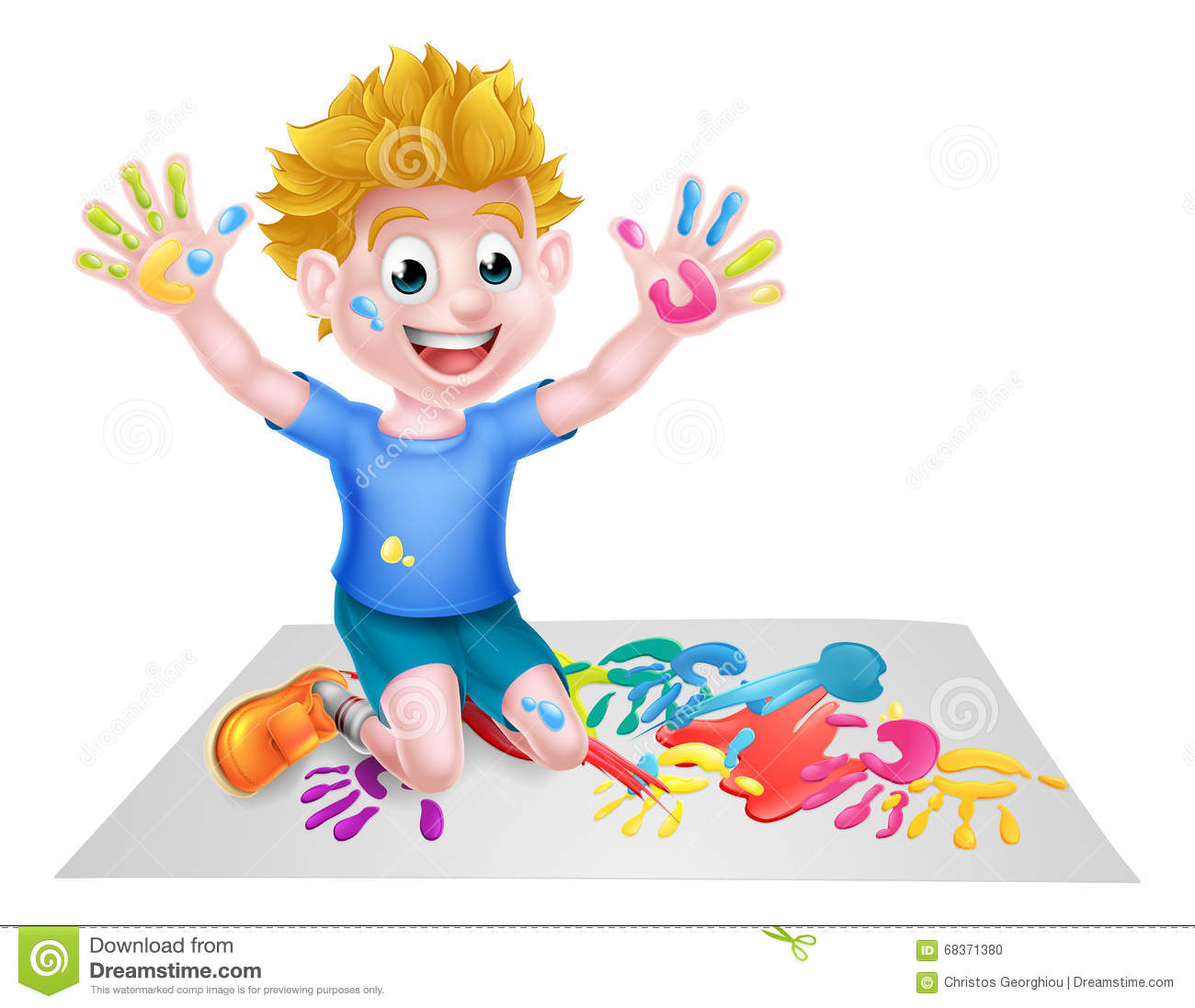 cartoon boy painting - Kids Paint Download