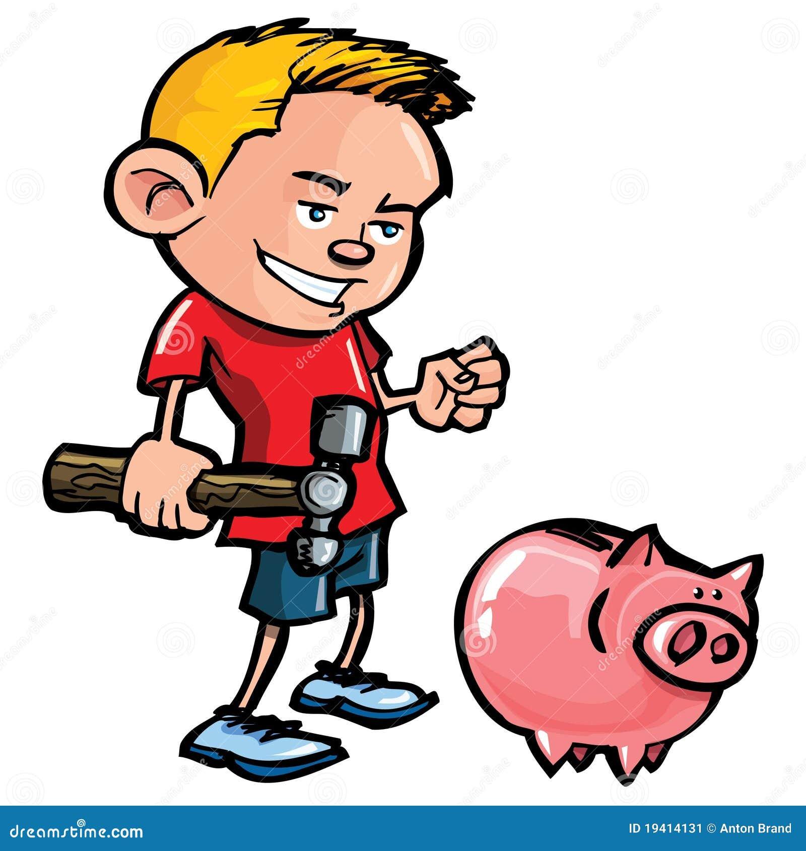 Cartoon Boy With A Piggy Bank Stock Image - Image: 19414131
