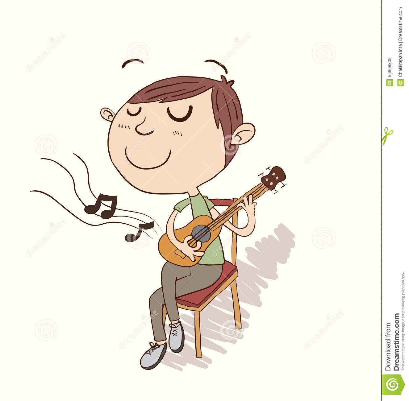 Cartoon Boy Playing Guitar. Stock Photo - Image: 56608809