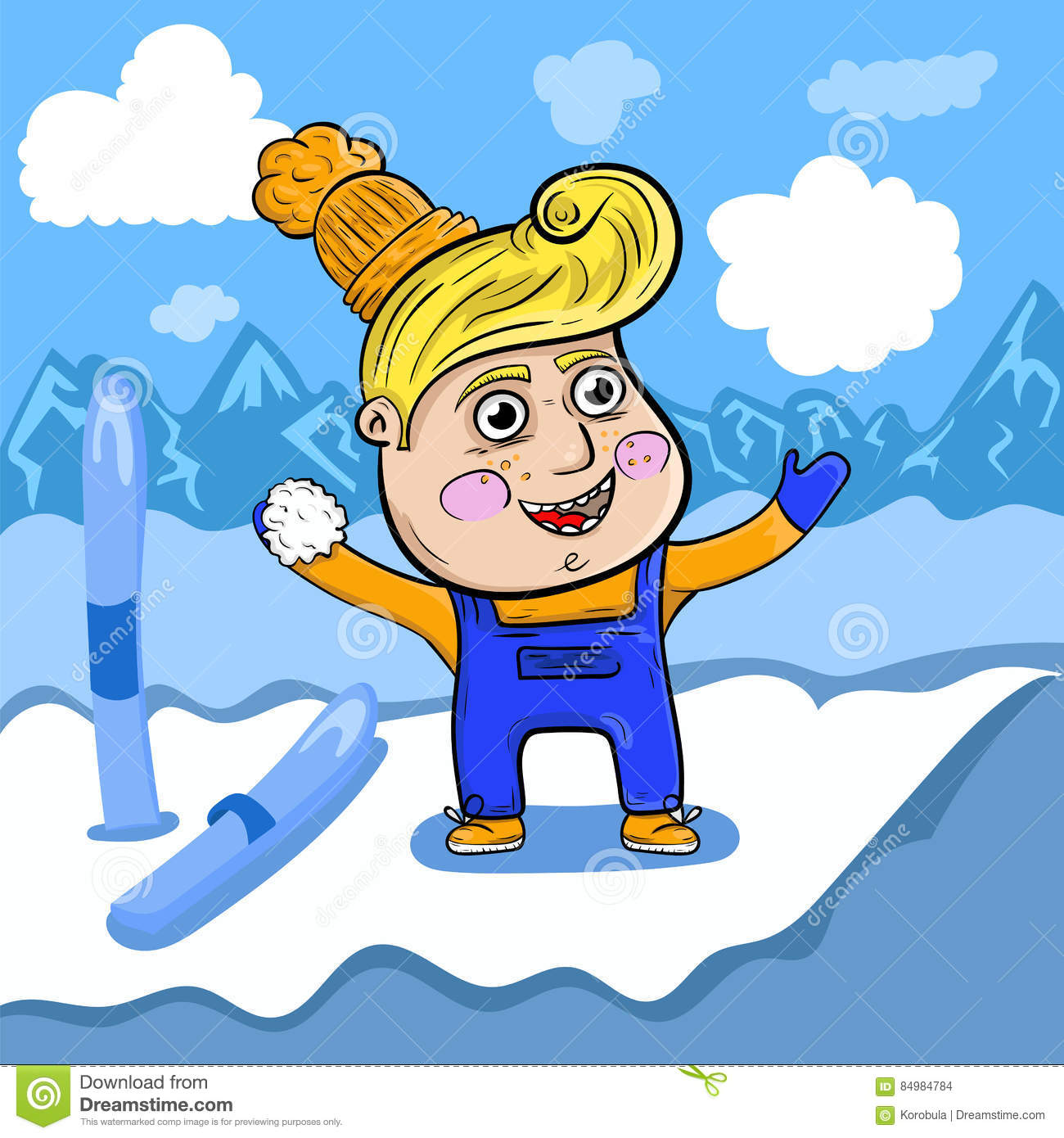 Cartoon boy playing in the snow high in the mountains.