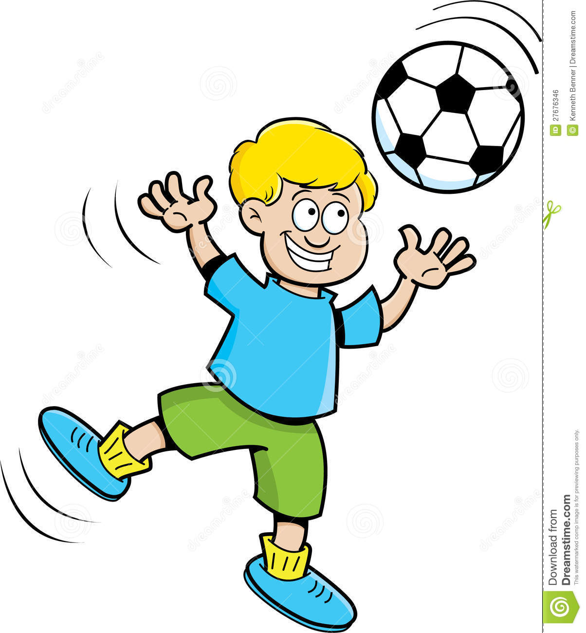 Cartoon Boy Playing Soccer Royalty Free Stock Image - Image: 27676346