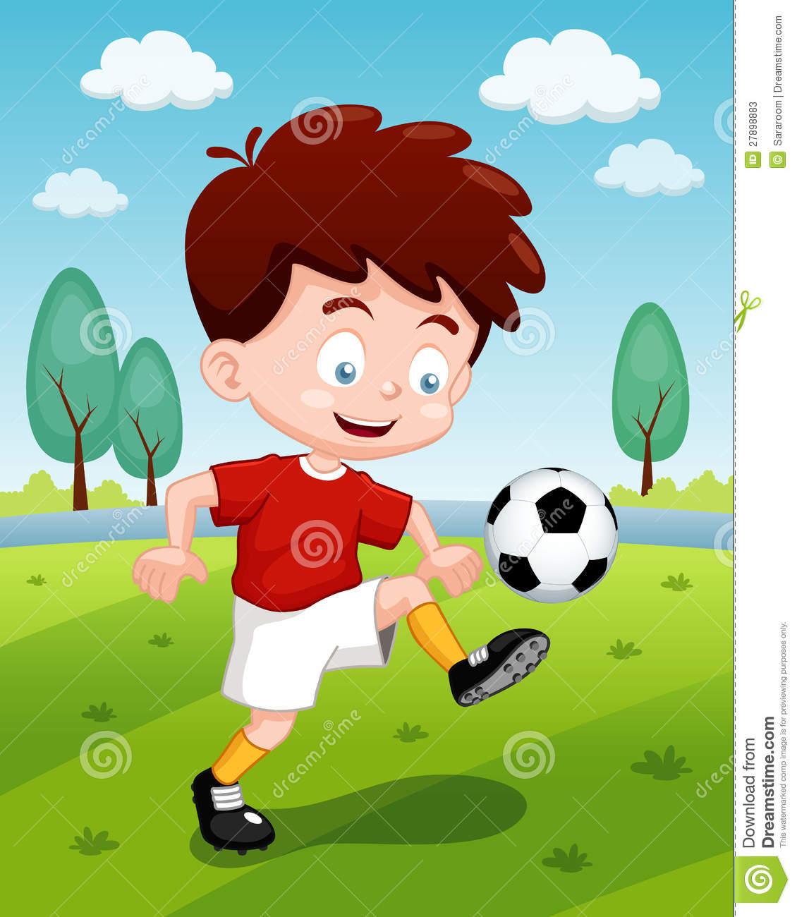 cartoon boy playing soccer stock vector  illustration of game