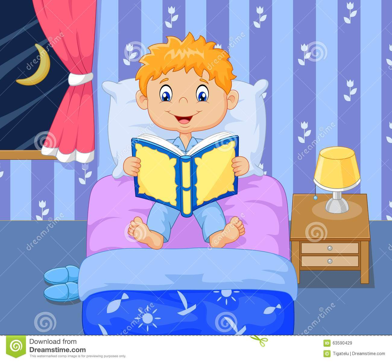 Cartoon Boy Reading Bed Time Story Stock Vector