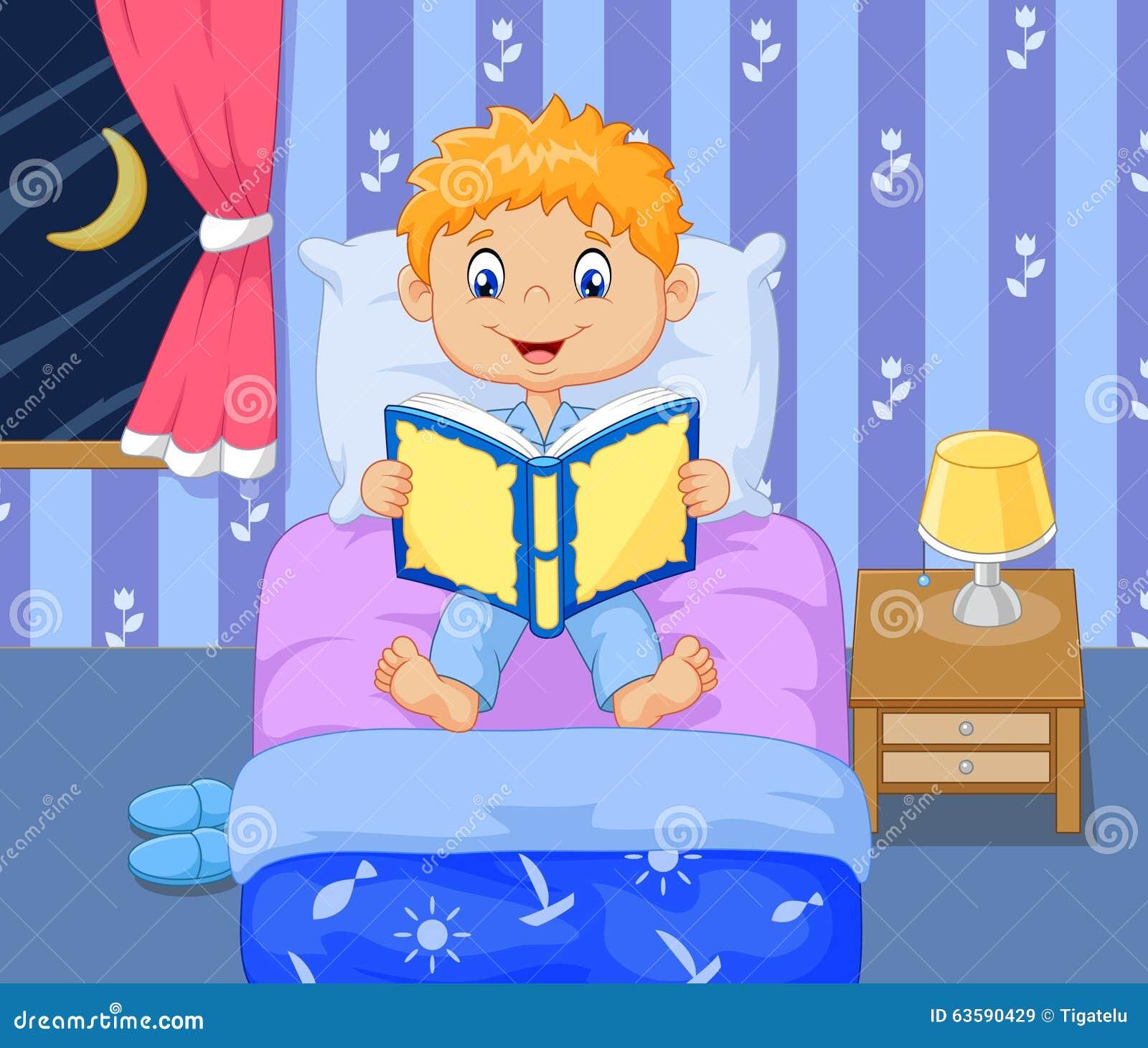 3d Bedroom Cartoon Boy Reading Bed Time Story Stock Illustration