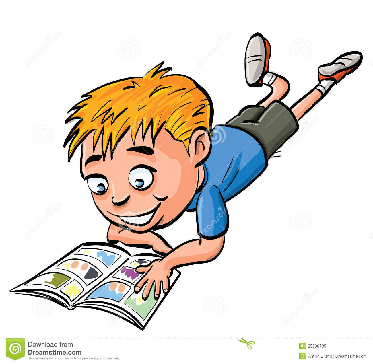 Cartoon Boy Reading A Comic Book Stock Illustration