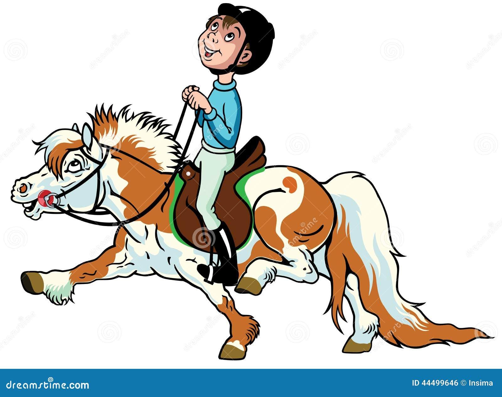 cartoon boy riding shetland pony horse equestrian sport side view image little kids 44499646