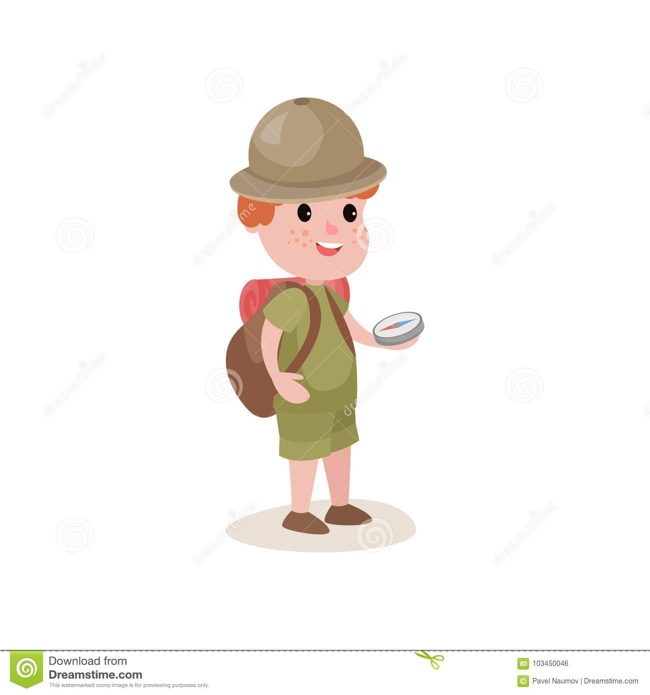 Young explorer with compass in hands and backpack on shoulders