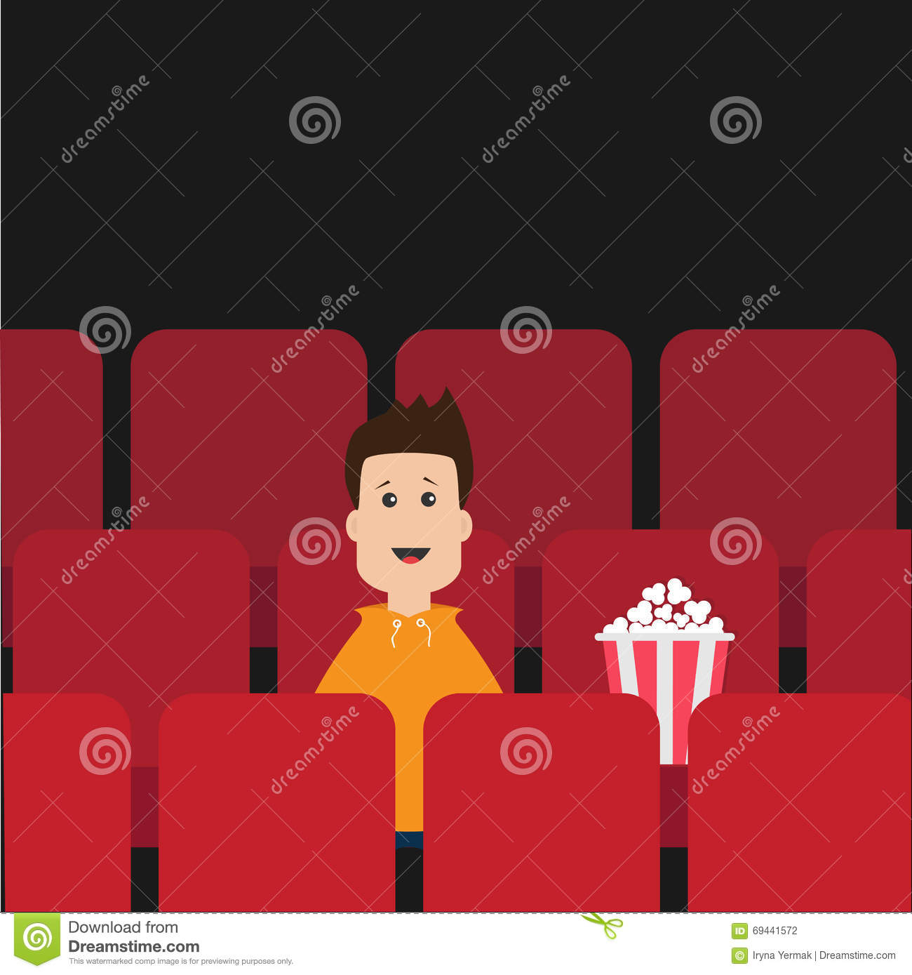 Cartoon Boy Sitting In Movie Theater. Film Show Cinema ...