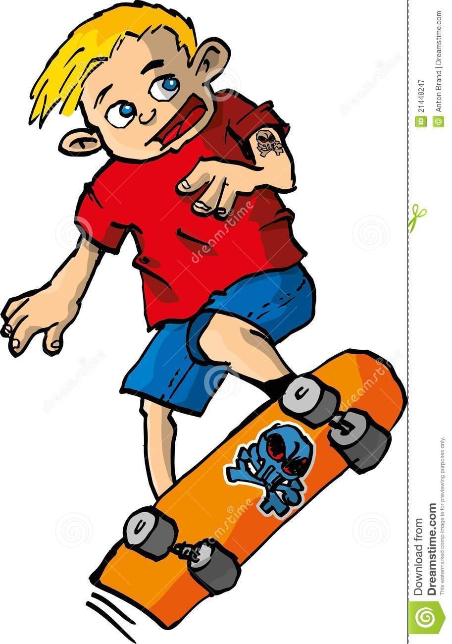 Cartoon Of Boy On A Skateboard Stock Vector Illustration