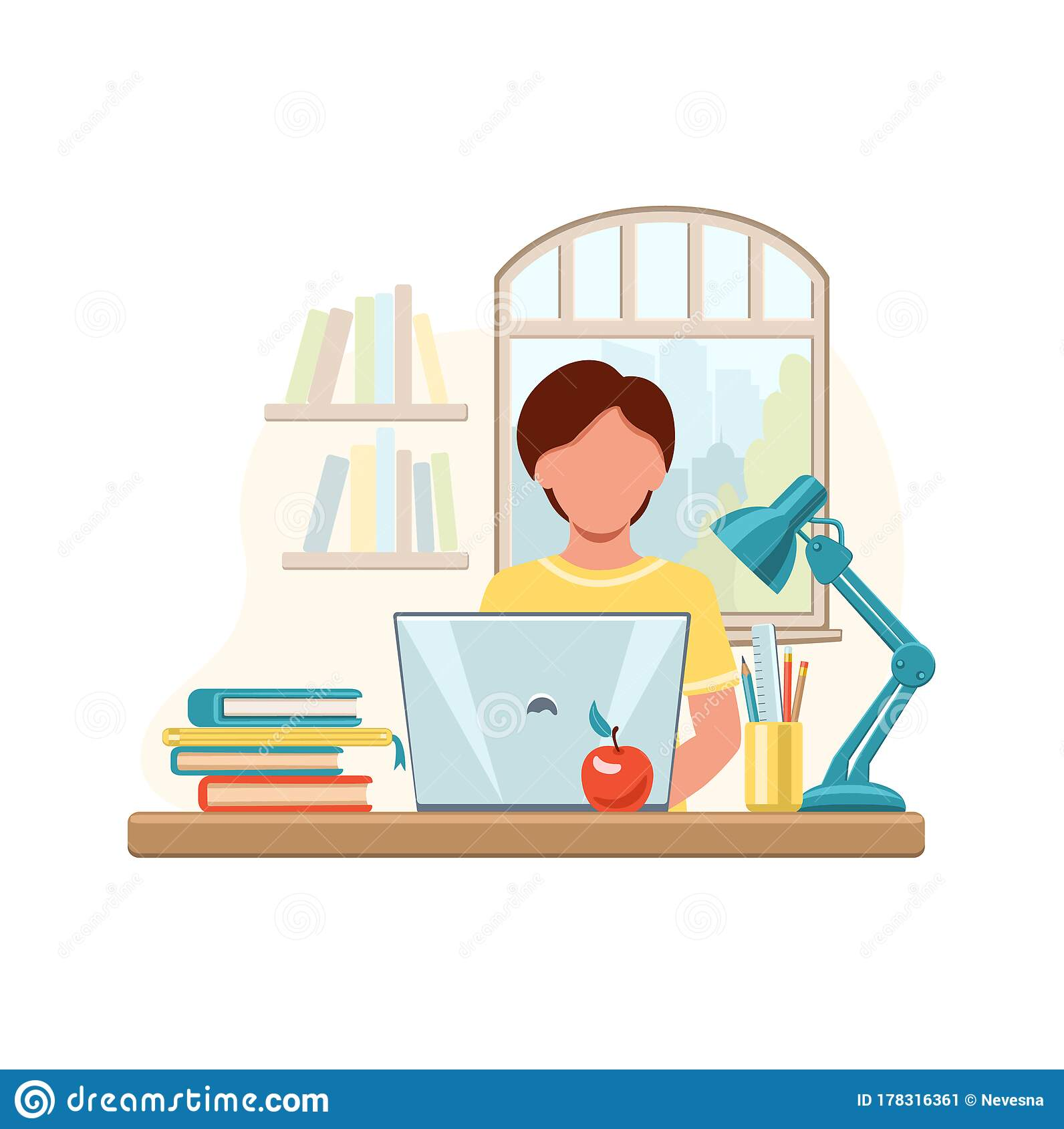 Cartoon Boy Studying At Home With Computer And Books On Window Background School Boy Writing For Homework Online Education Stock Vector Illustration Of Internet Character 178316361