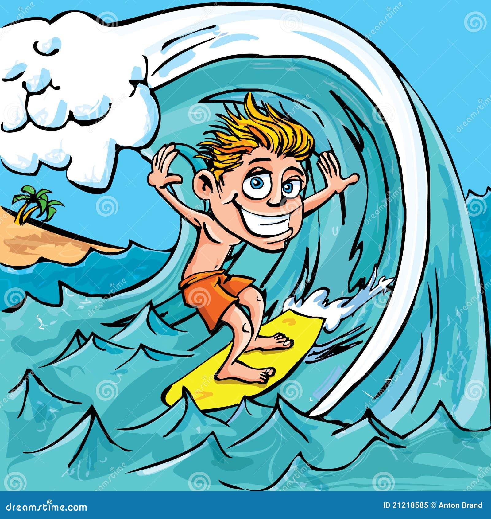 Cartoon boy surfing a wave in the sea mr no pr no 4 4586 10