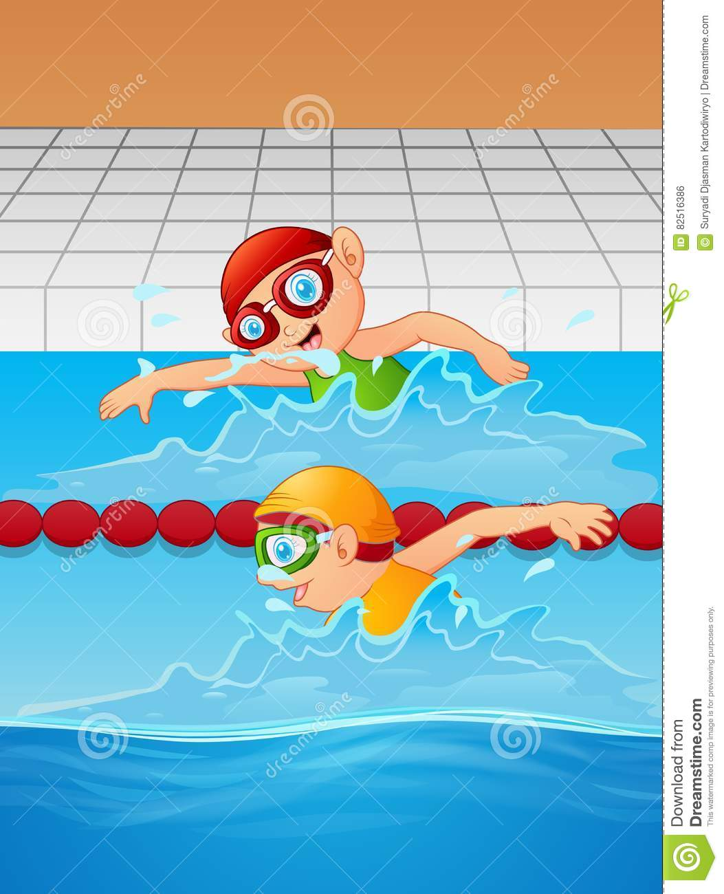 Cartoon Boy Swimmer In The Swimming Pool Stock Vector