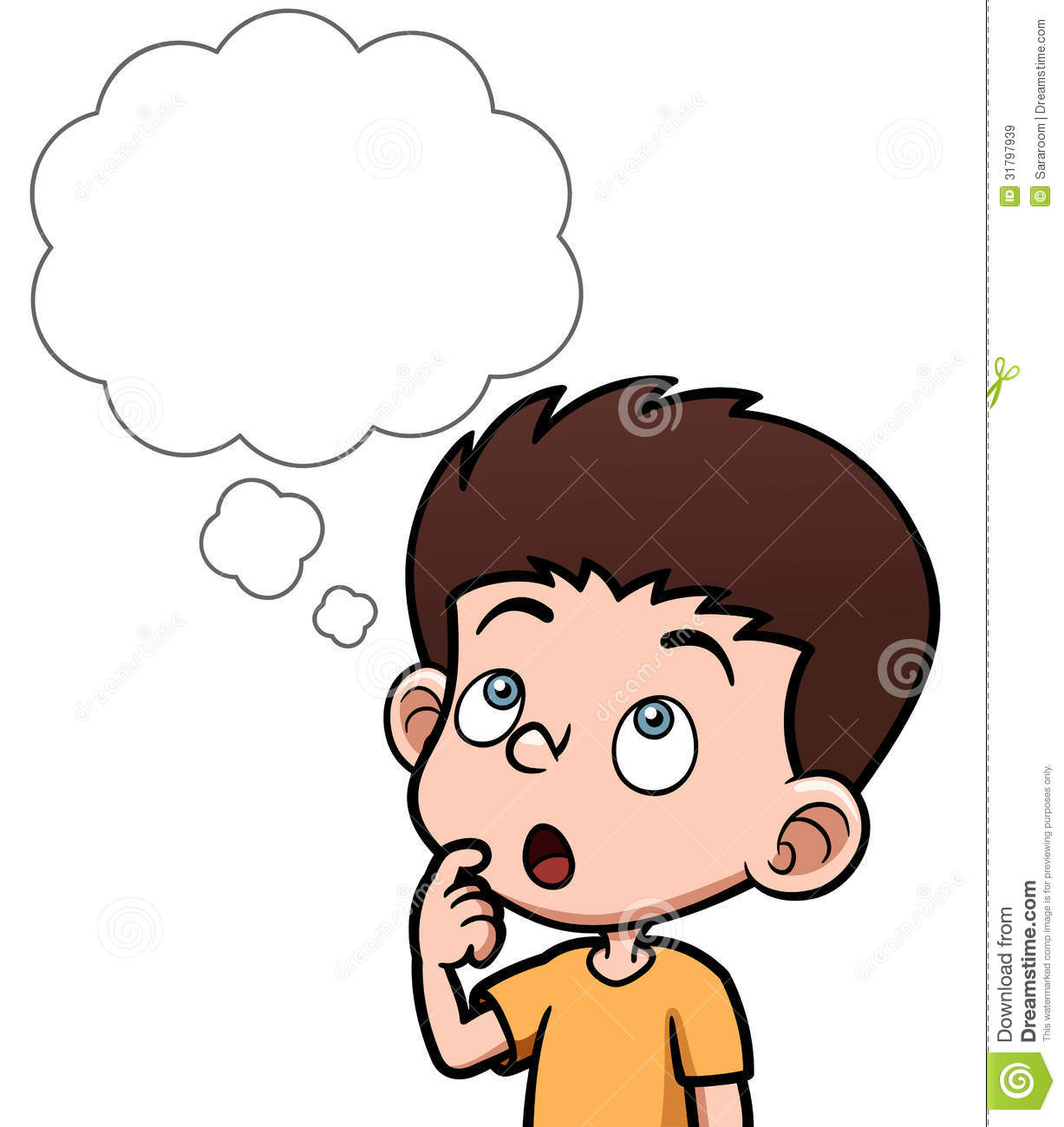 Cartoon Boy Thinking With White Bubble Royalty Free Stock Images
