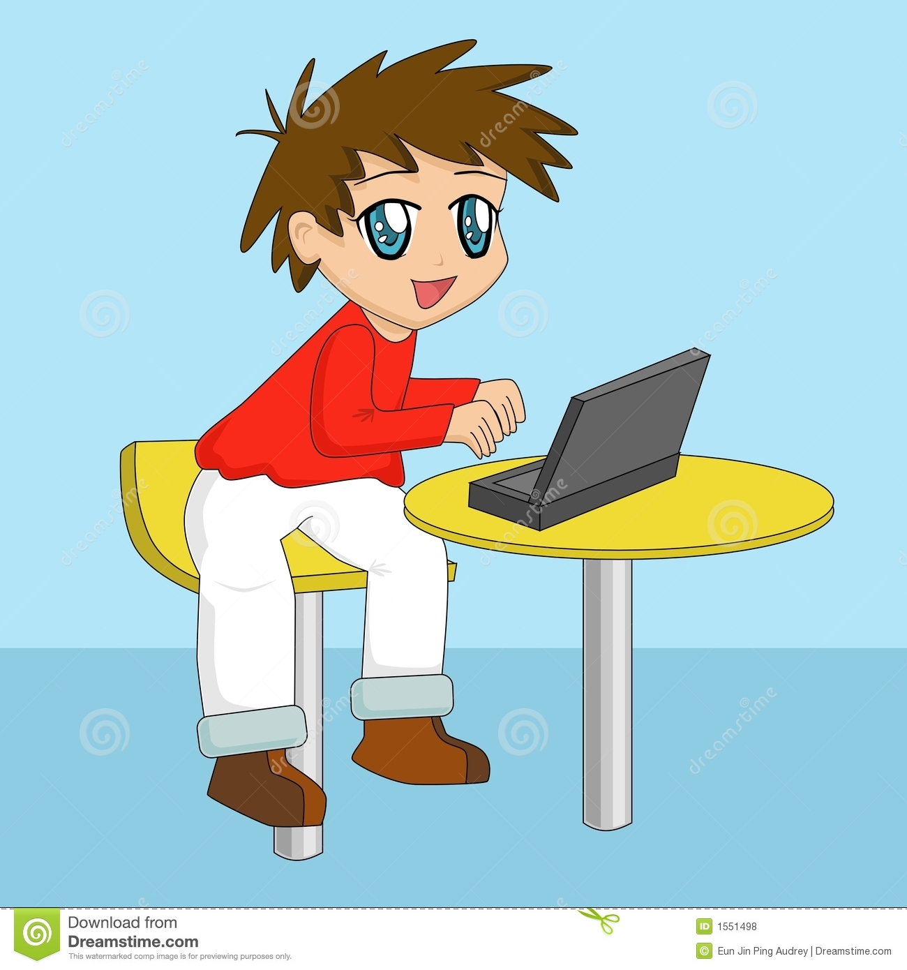 Cartoon Boy Using Laptop Royalty Free Stock Photos - Image: 1551498