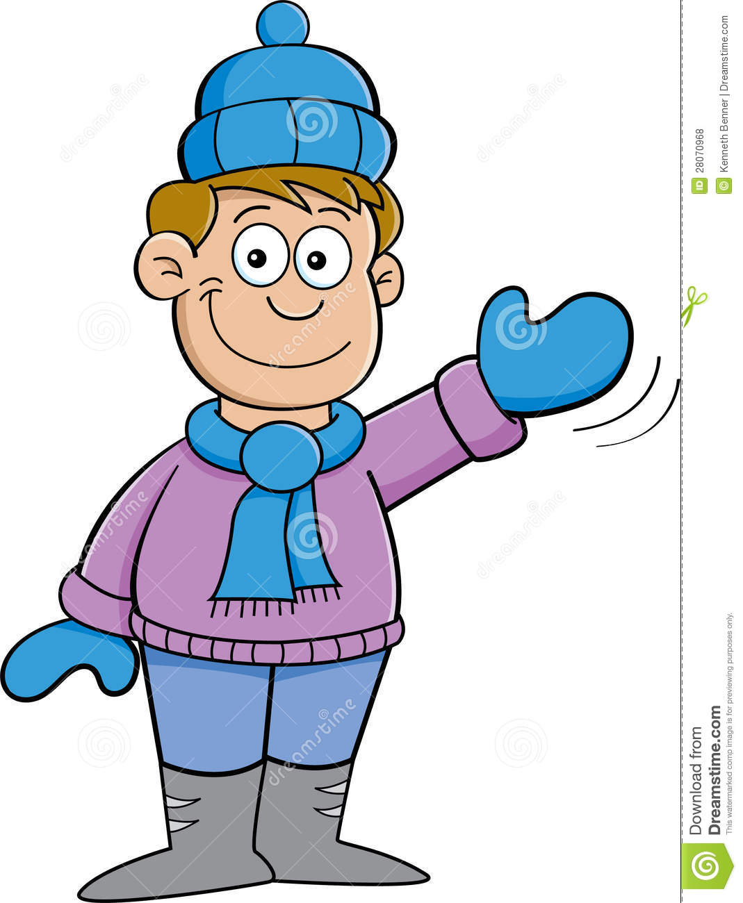 cartoon boy in winter clothes waving royalty free stock