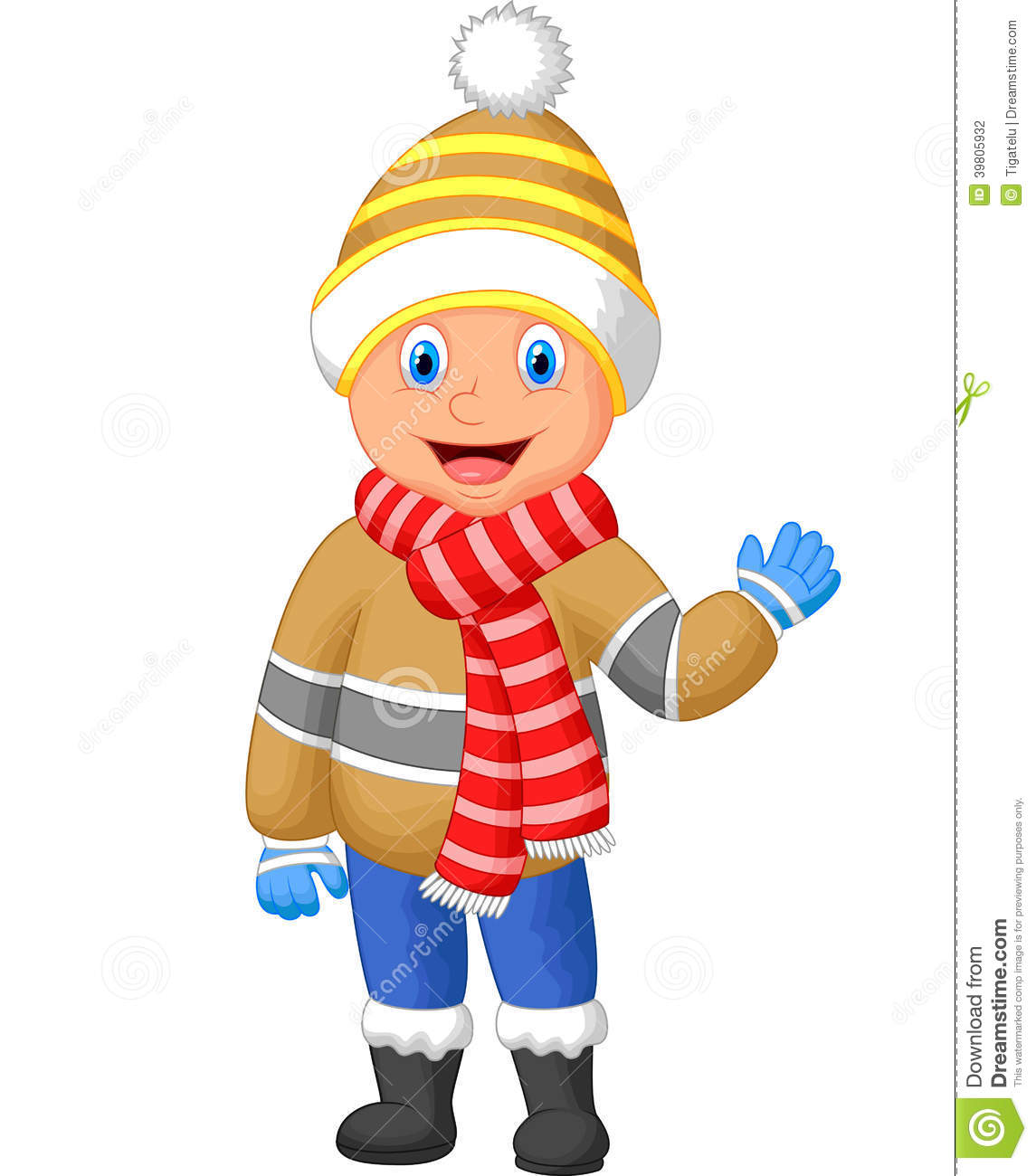 cartoon a boy in winter clothes waving hand stock vector mittens clip art in colors mittens clip art free