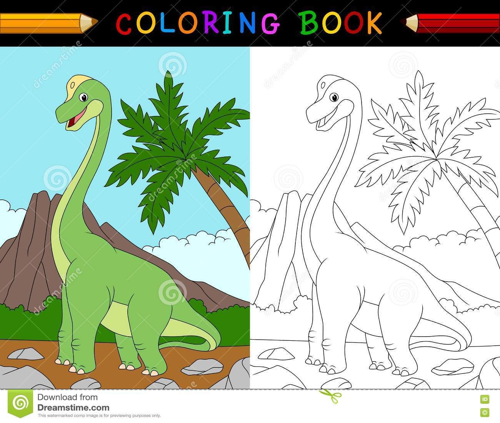 Cartoon Brachiosaurus Coloring Book Stock Vector - Illustration of ...
