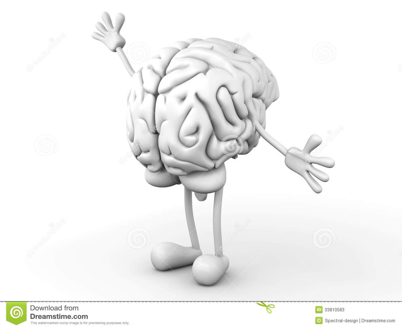 greeting Cartoon Brain. 3D rendered Illustration.