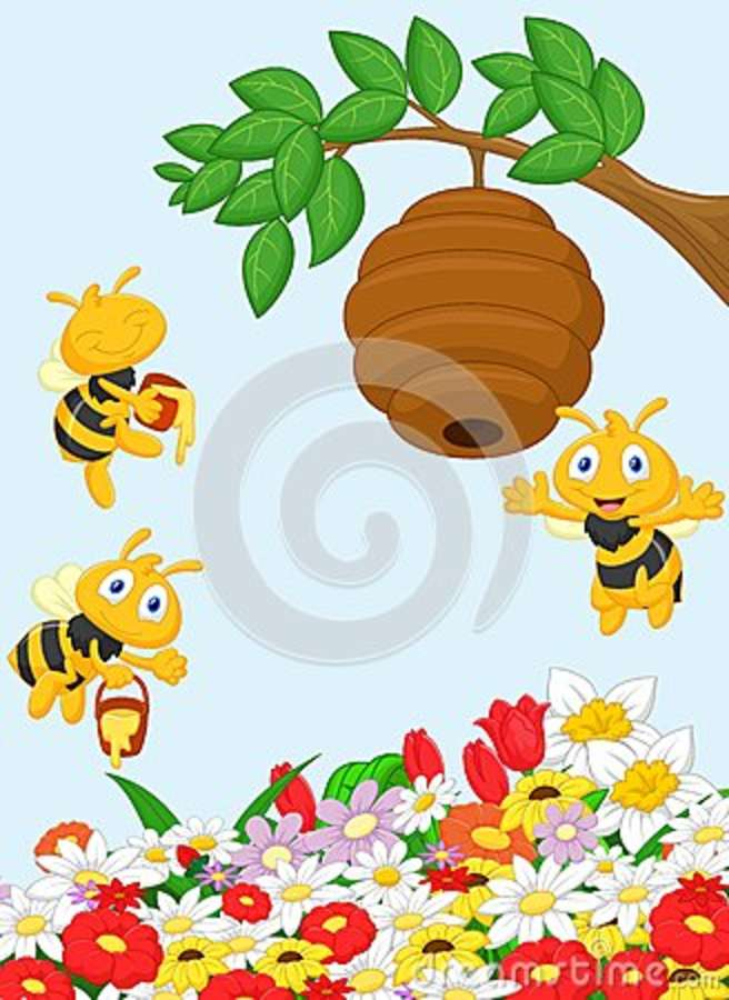 Cartoon a branch of a tree with a beehive and a bee stock for Ahuyentar abejas jardin