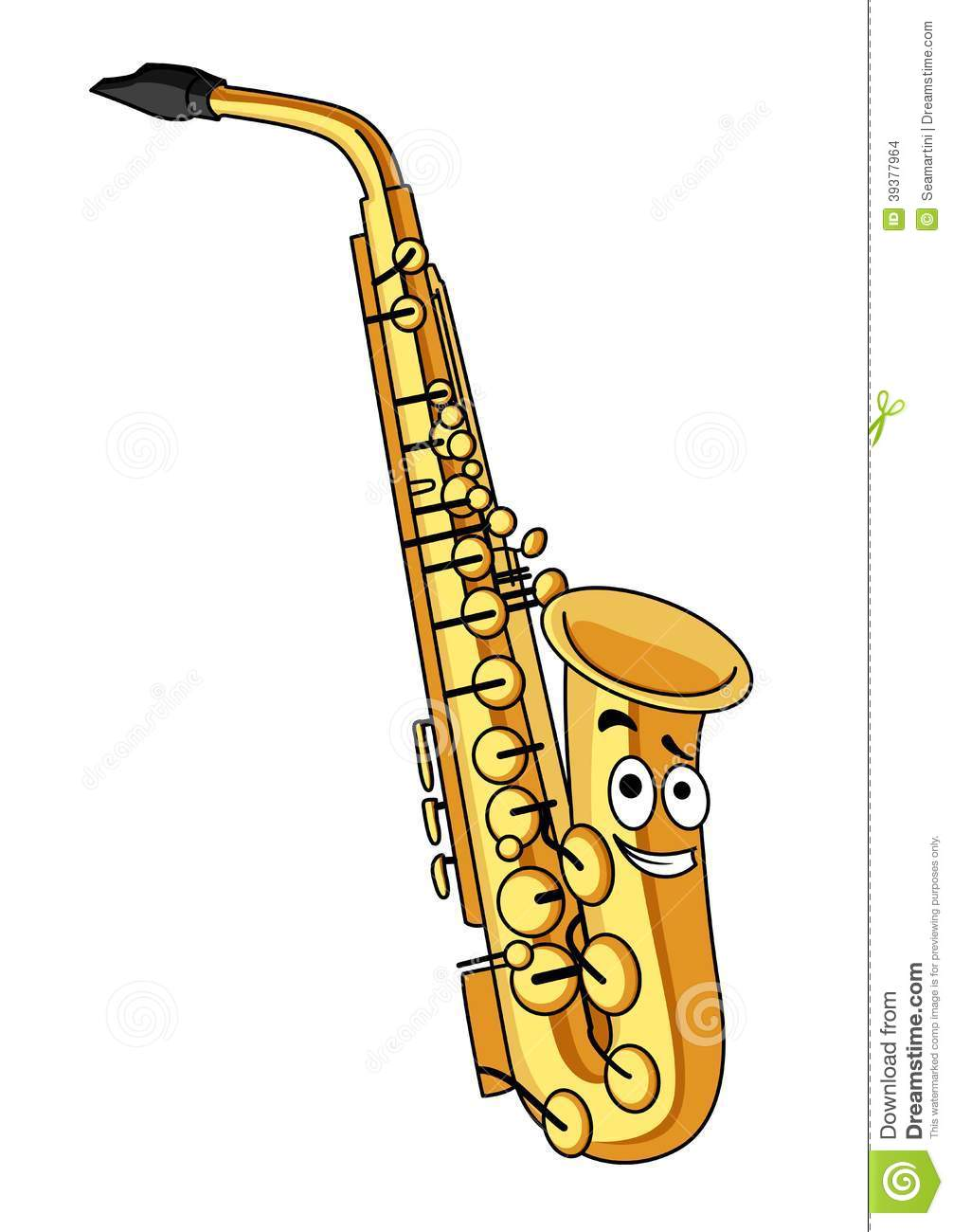 Cartoon brass saxophone with a smiling face for musical design ...