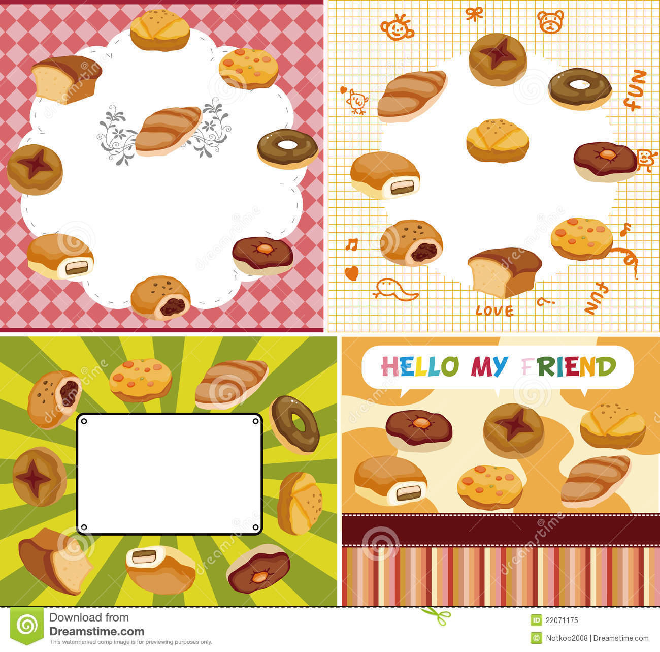 Cartoon Bread Card Cartoon Vector
