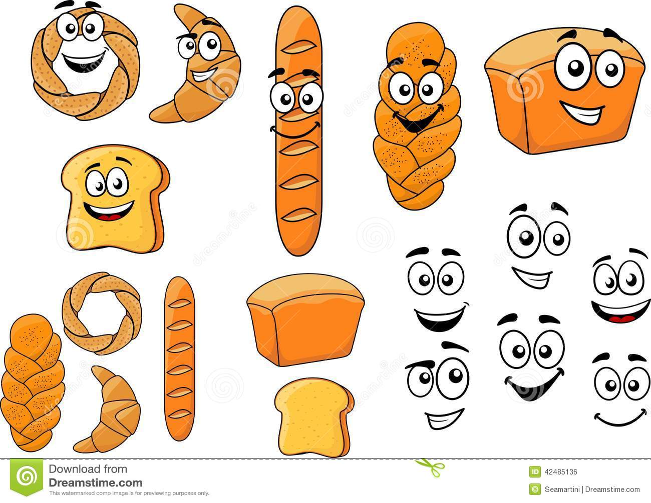 Objetos De Dibujos Animados Panadería Y Panadero: Cartoon Breads With Happy Smiling Faces Stock Vector