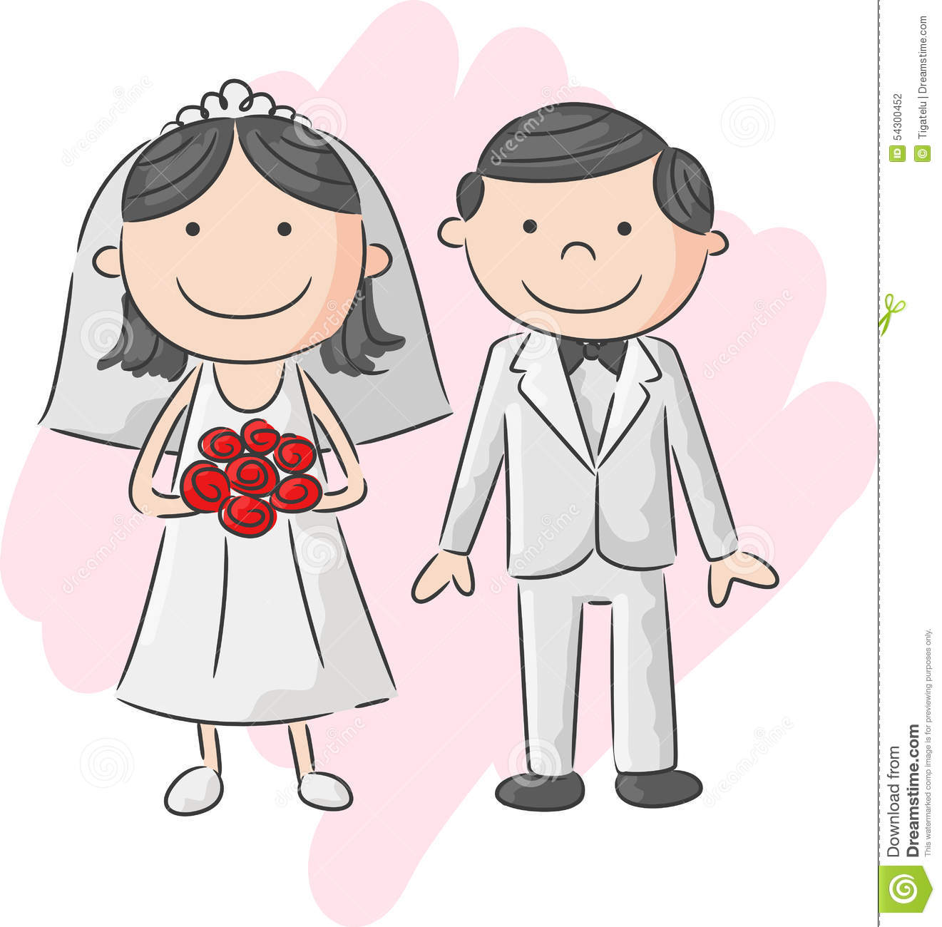 Cartoon bride and groom stock vector. Illustration of love ...
