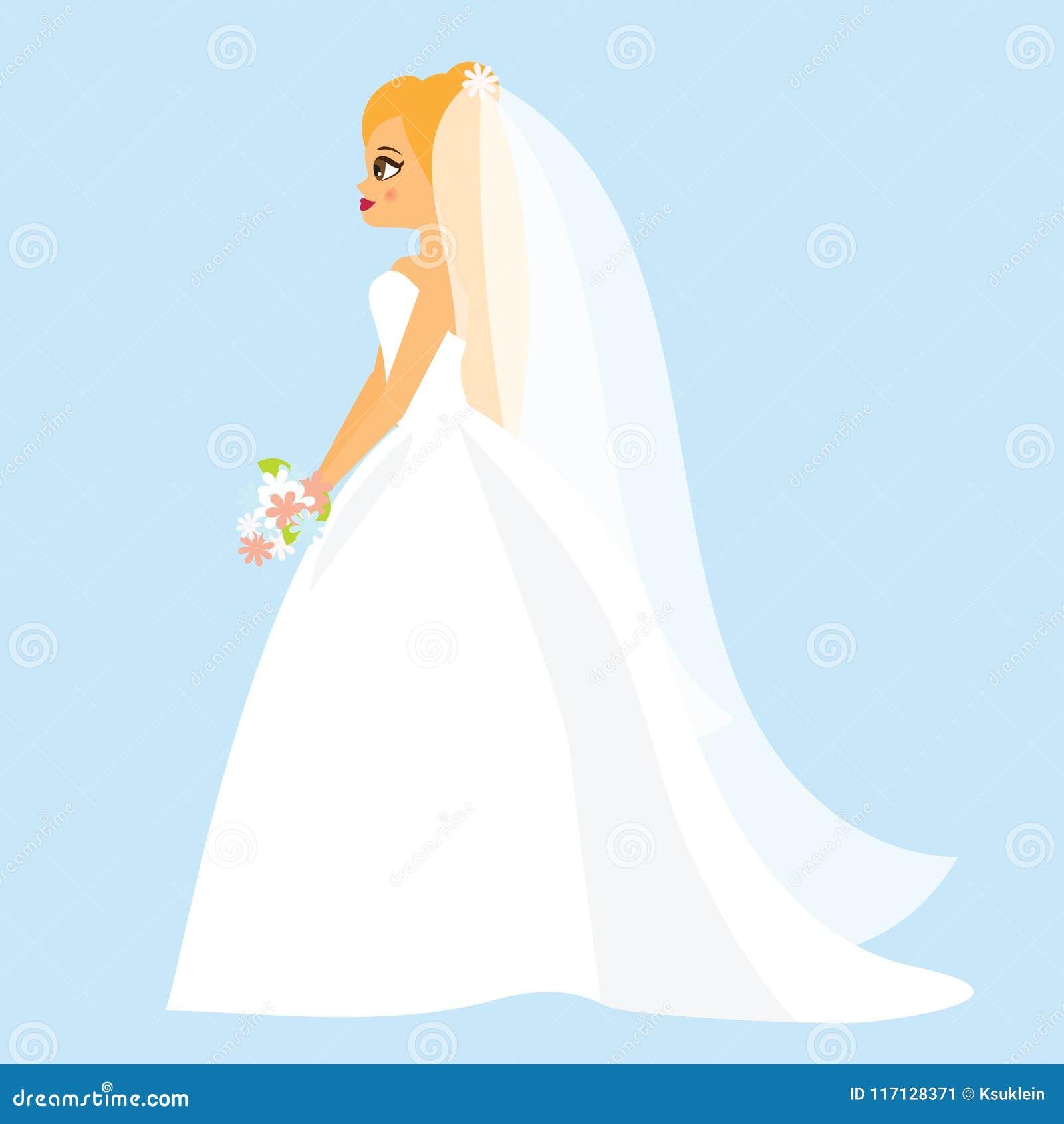Cartoon Bride Happy Female In Fashionable Wedding Dress Stock