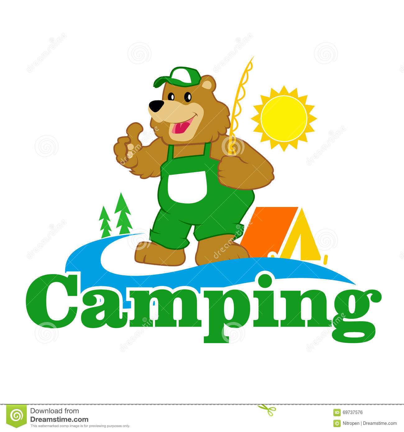 cute camping tent clipart