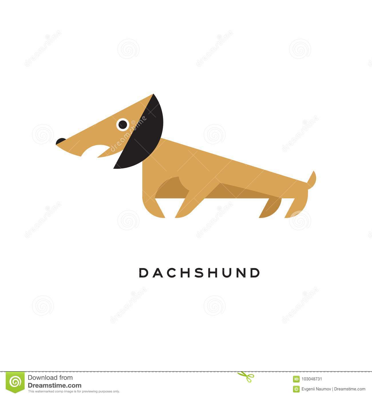 Cartoon Brown Dachshund Puppy Character Icon Stock Vector