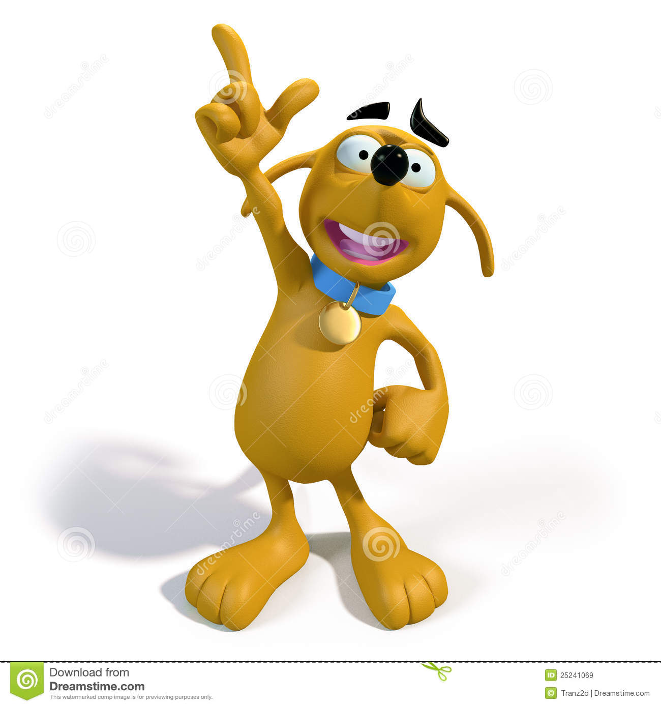 Cartoon Brown Dog With An Idea Royalty Free Stock Images