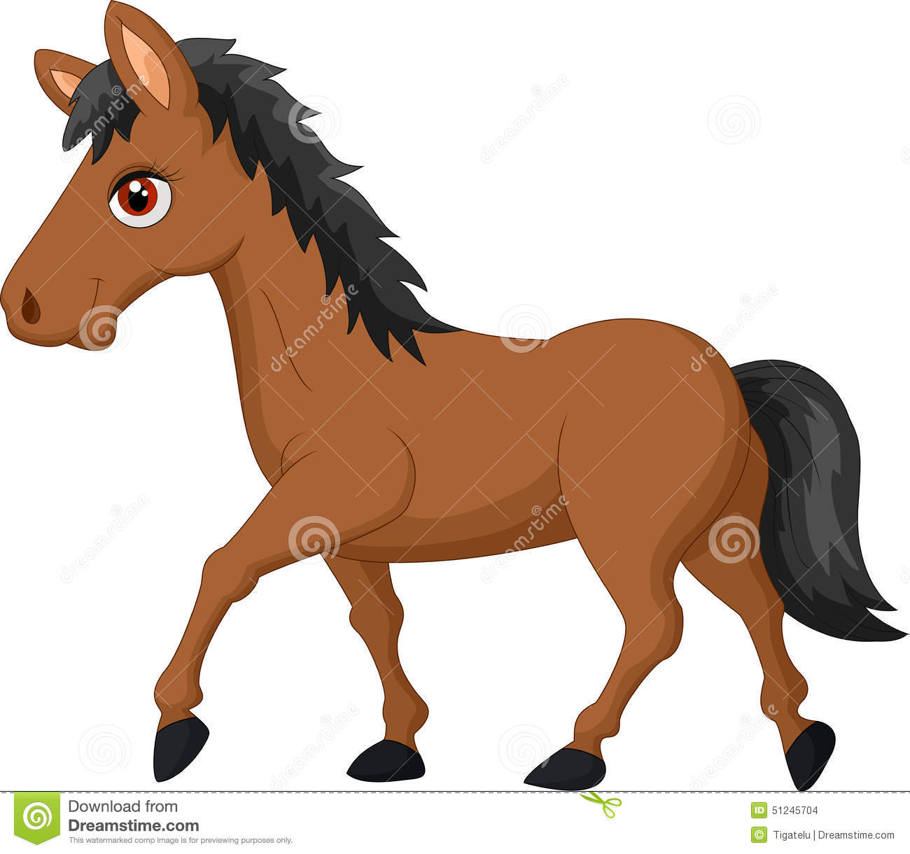 Cartoon Brown Horse Stock Vector Illustration Of Funny