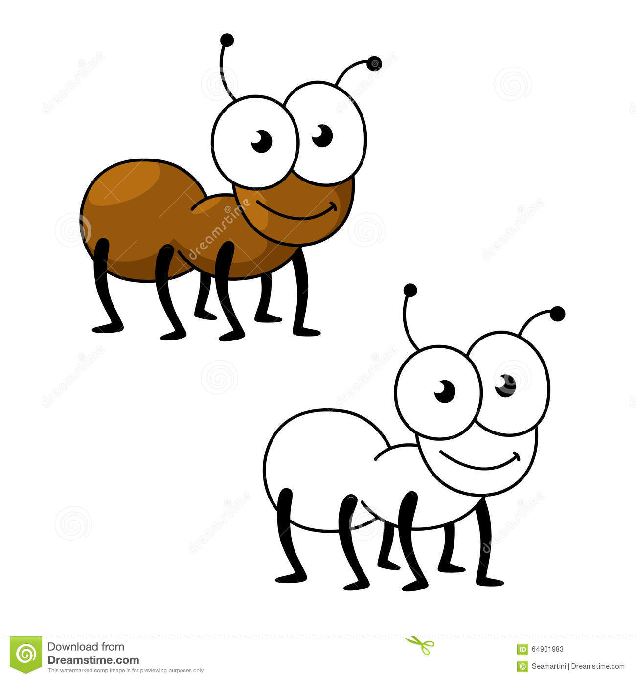 cartoon brown worker ant insect stock vector illustration of small