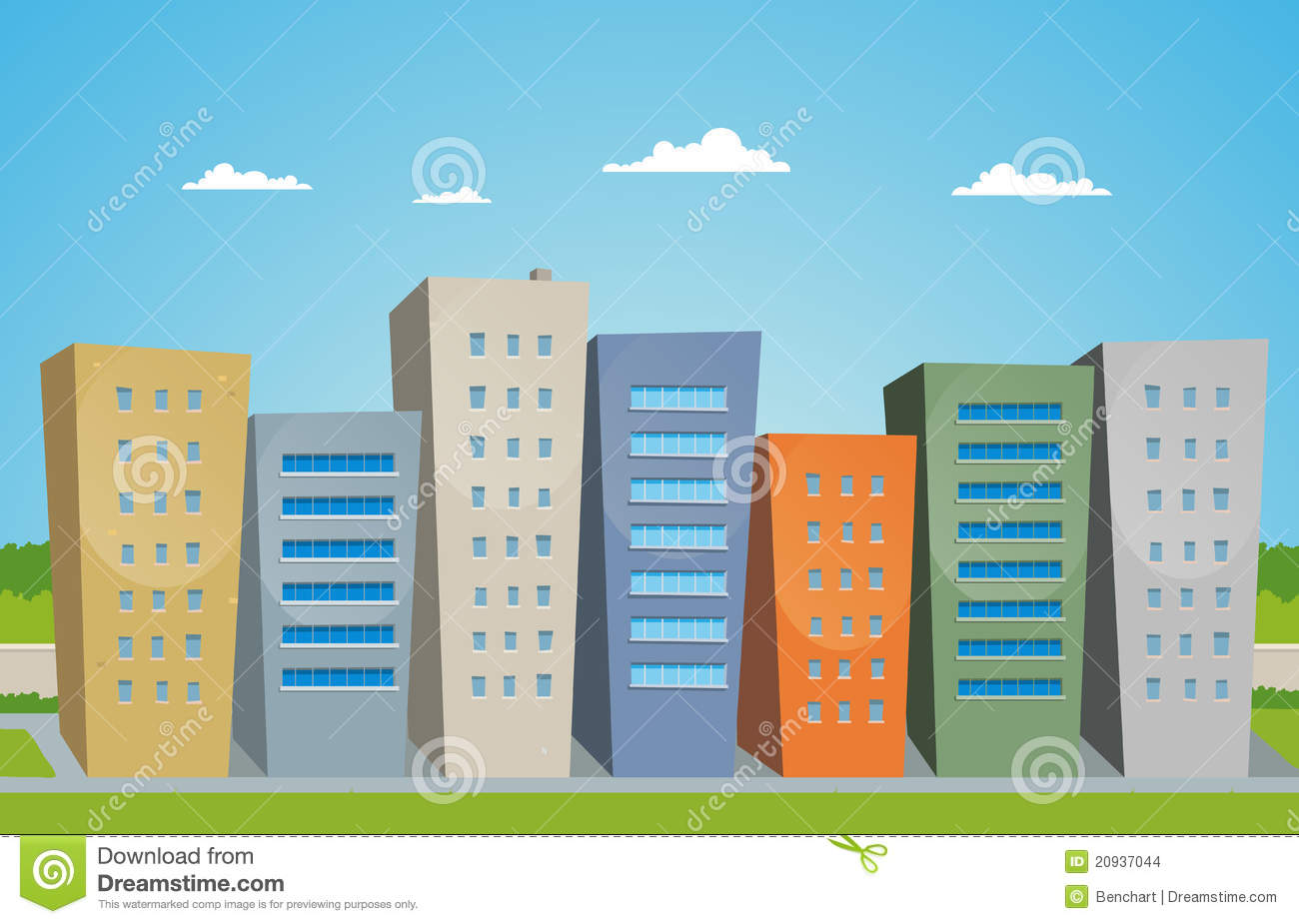 Cartoon Buildings Stock Images Image 20937044