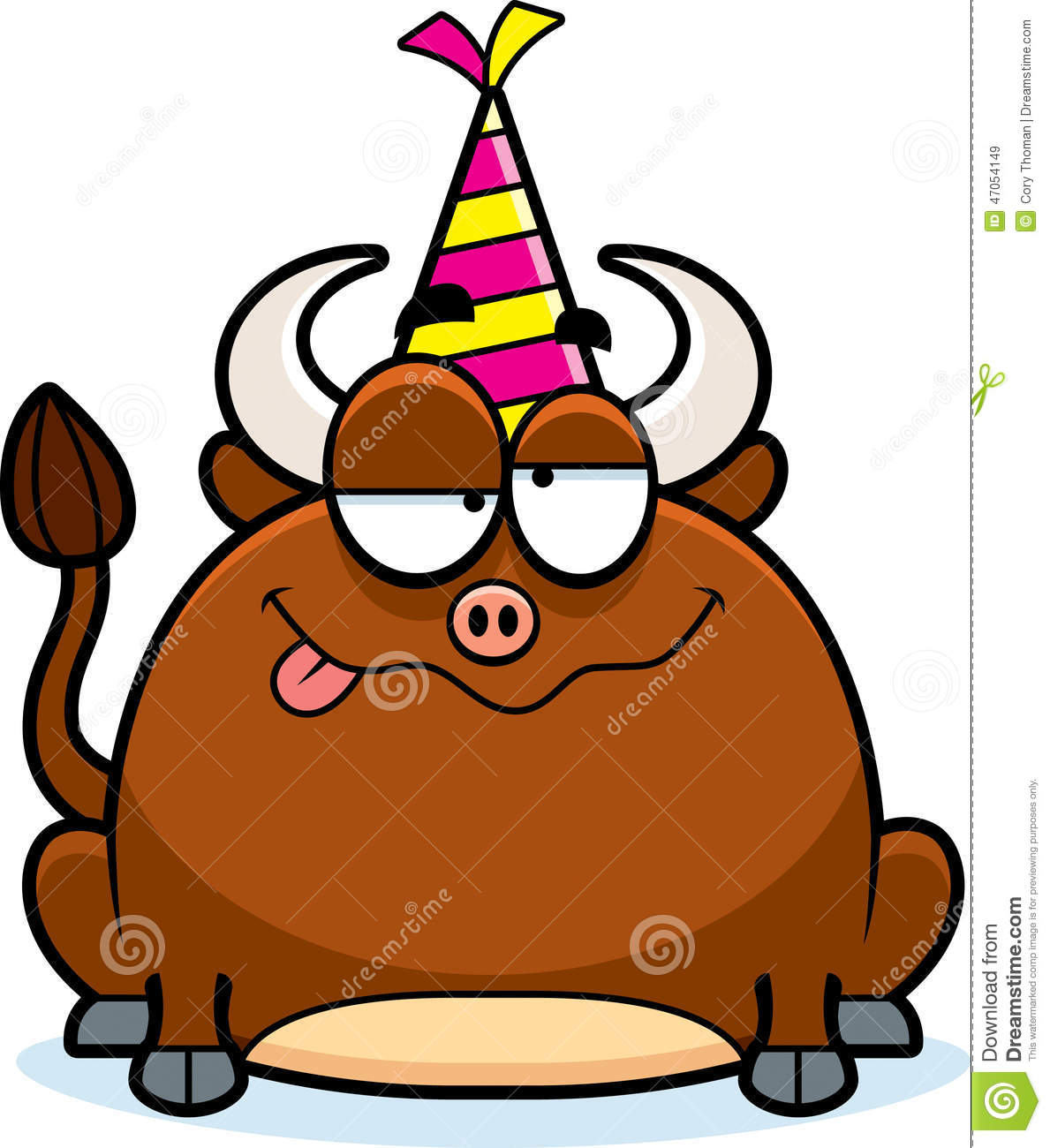 Cartoon bull drunk party stock vector image