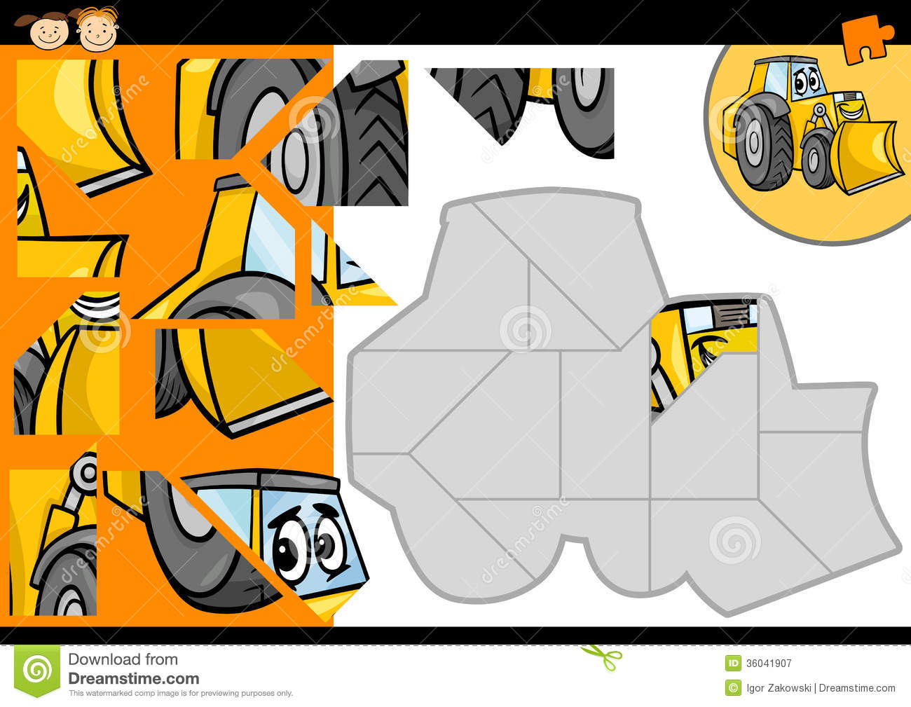 cartoon bulldozer jigsaw puzzle game royalty free stock