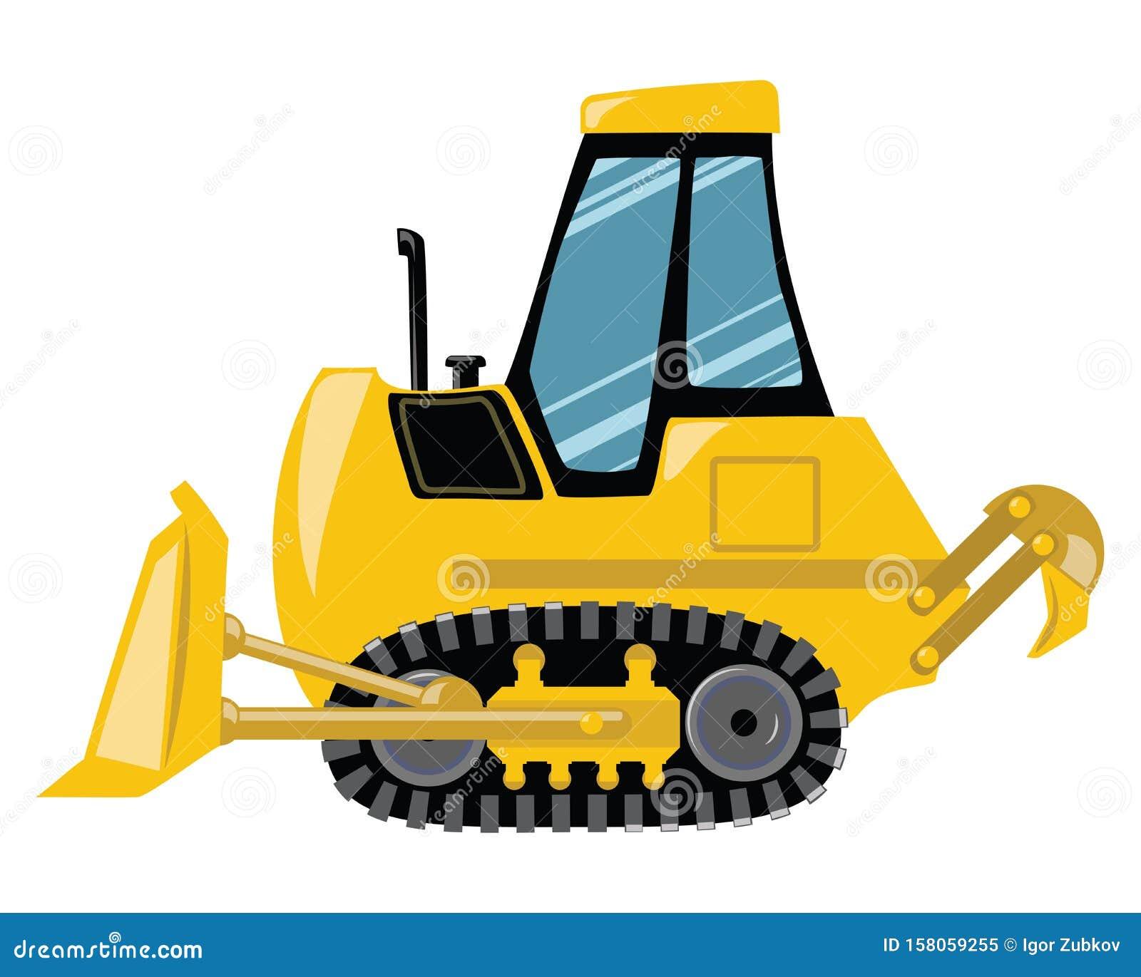 Cartoon bulldozer. Vector illustration of construction machinery. Drawing for children.