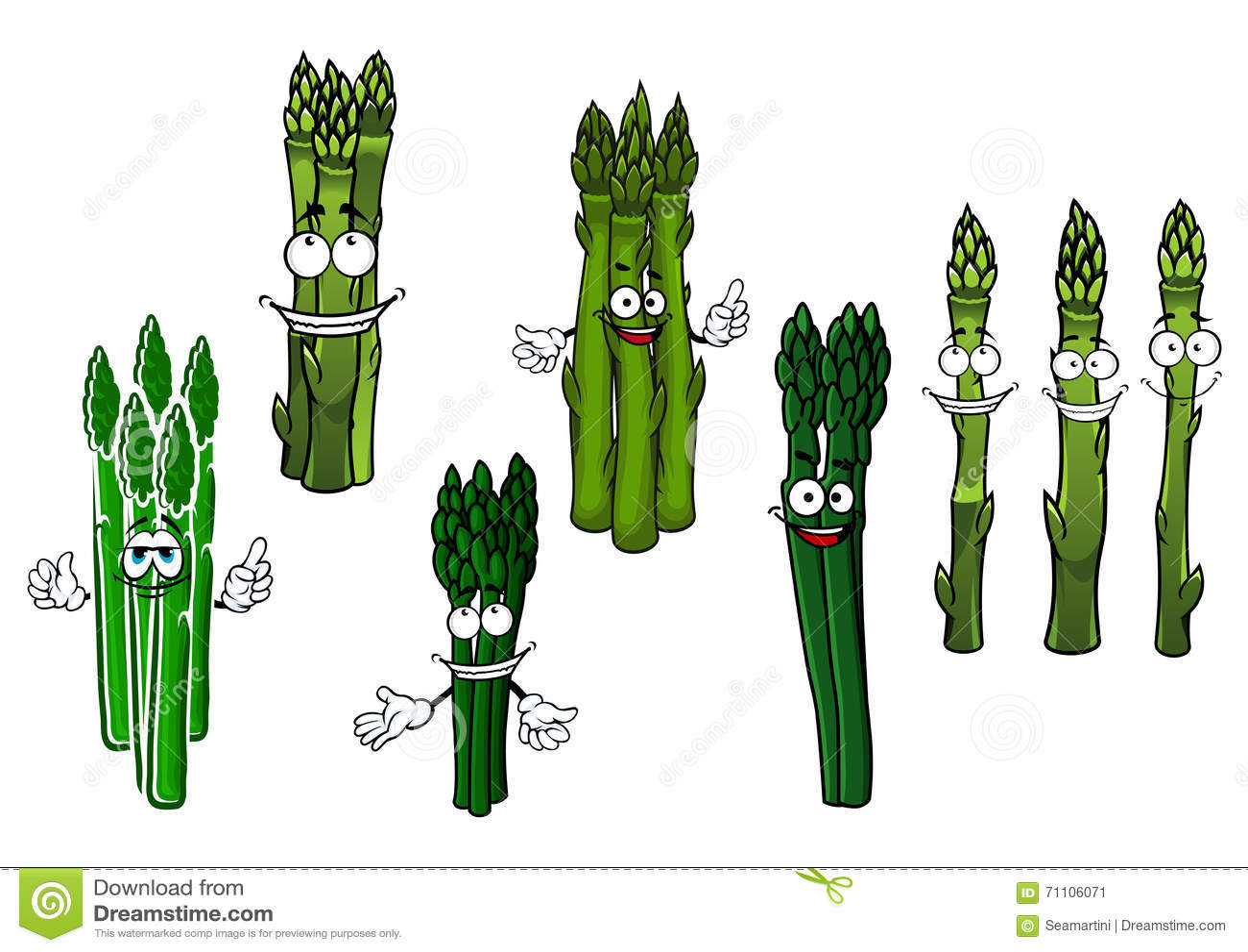 Cartoon Bundles Of Green Asparagus Vegetables Stock Vector