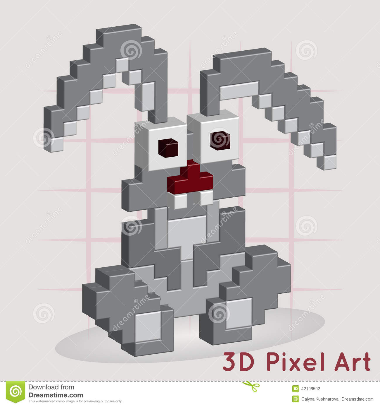 Cartoon Bunny 3d Pixel Art Stock Vector Illustration Of