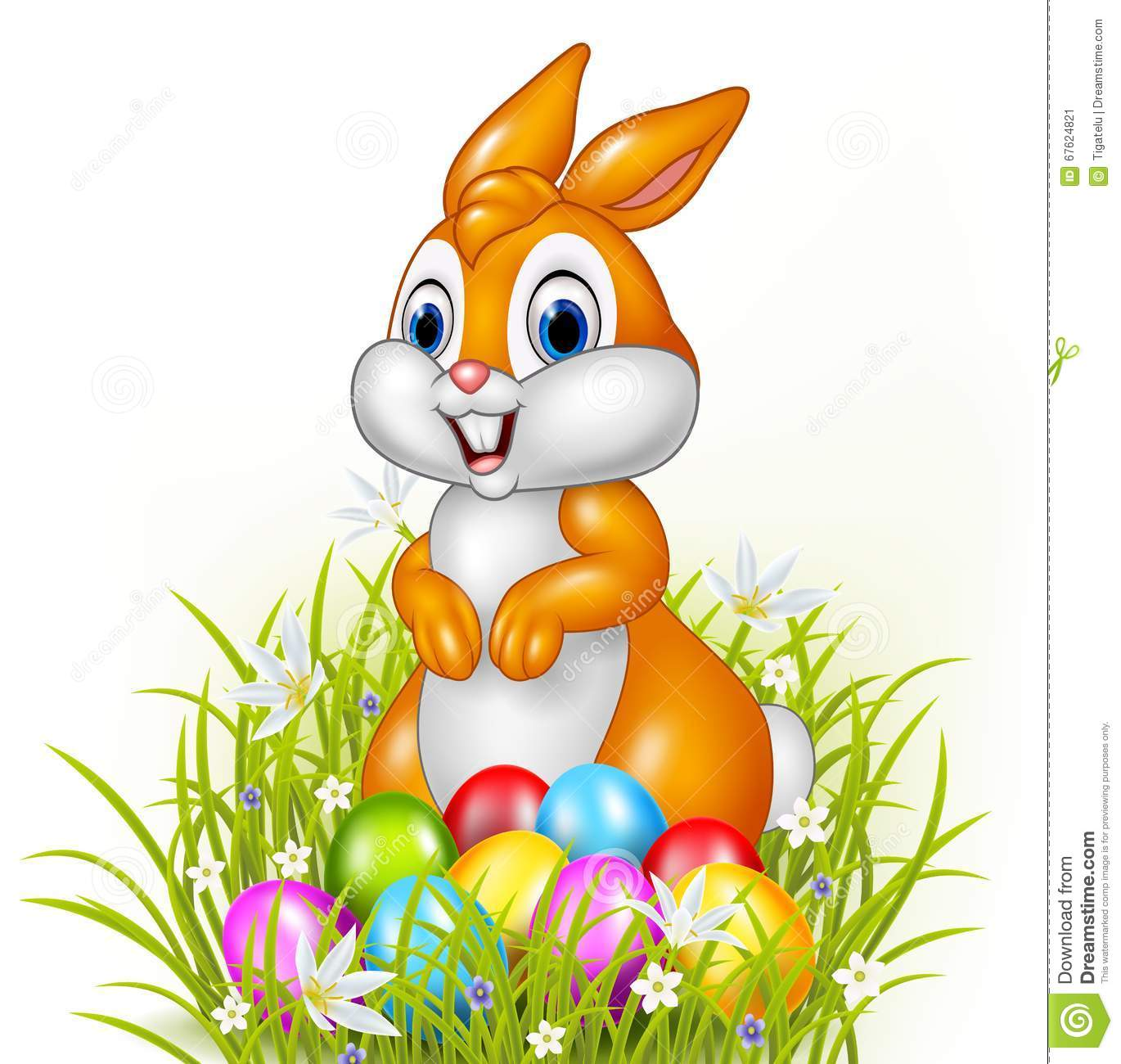 Cartoon Bunny With Easter Eggs Stock Vector - Image: 67624821