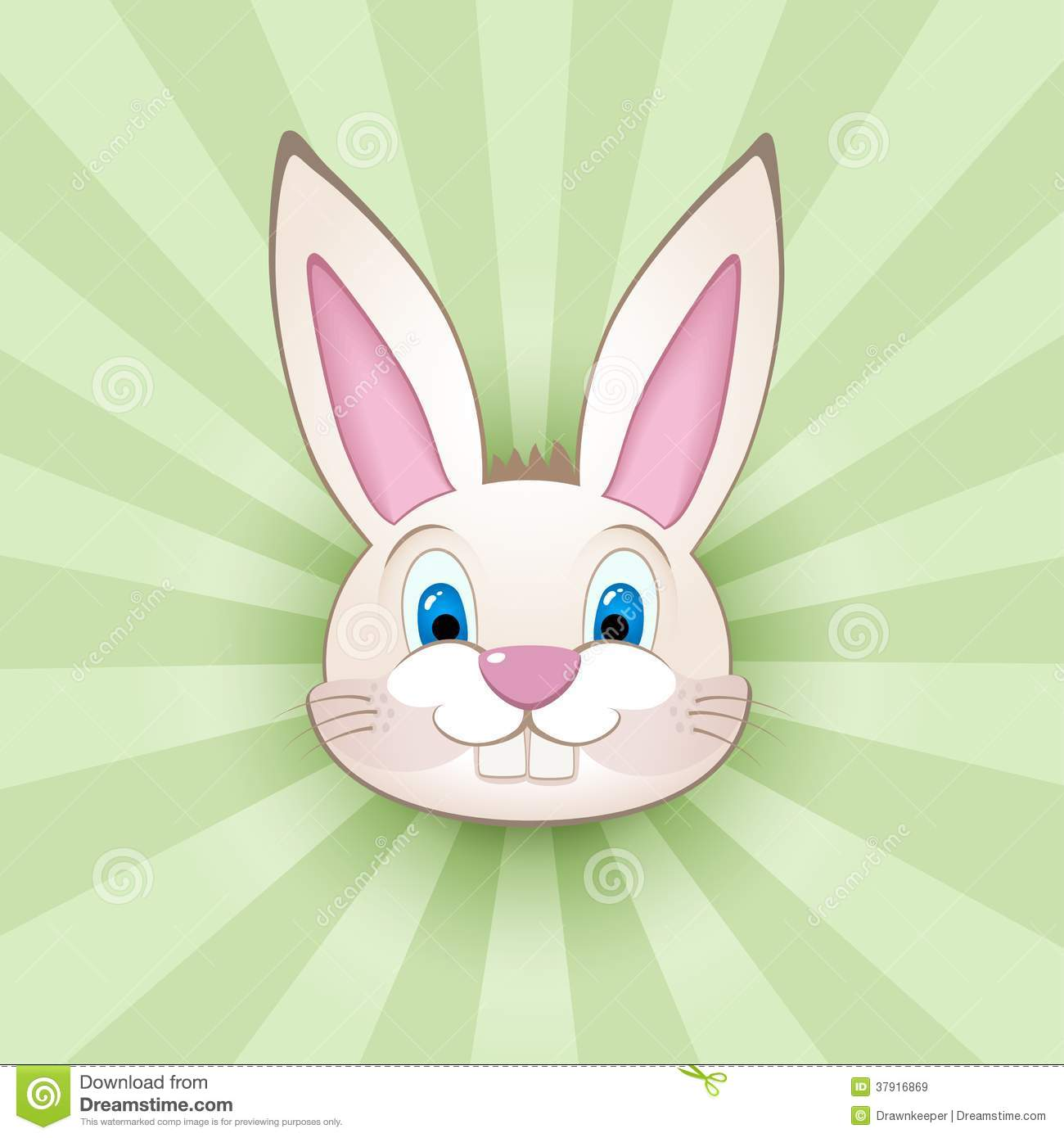 Cartoon Bunny Head On Green Royalty Free Stock Images - Image ...
