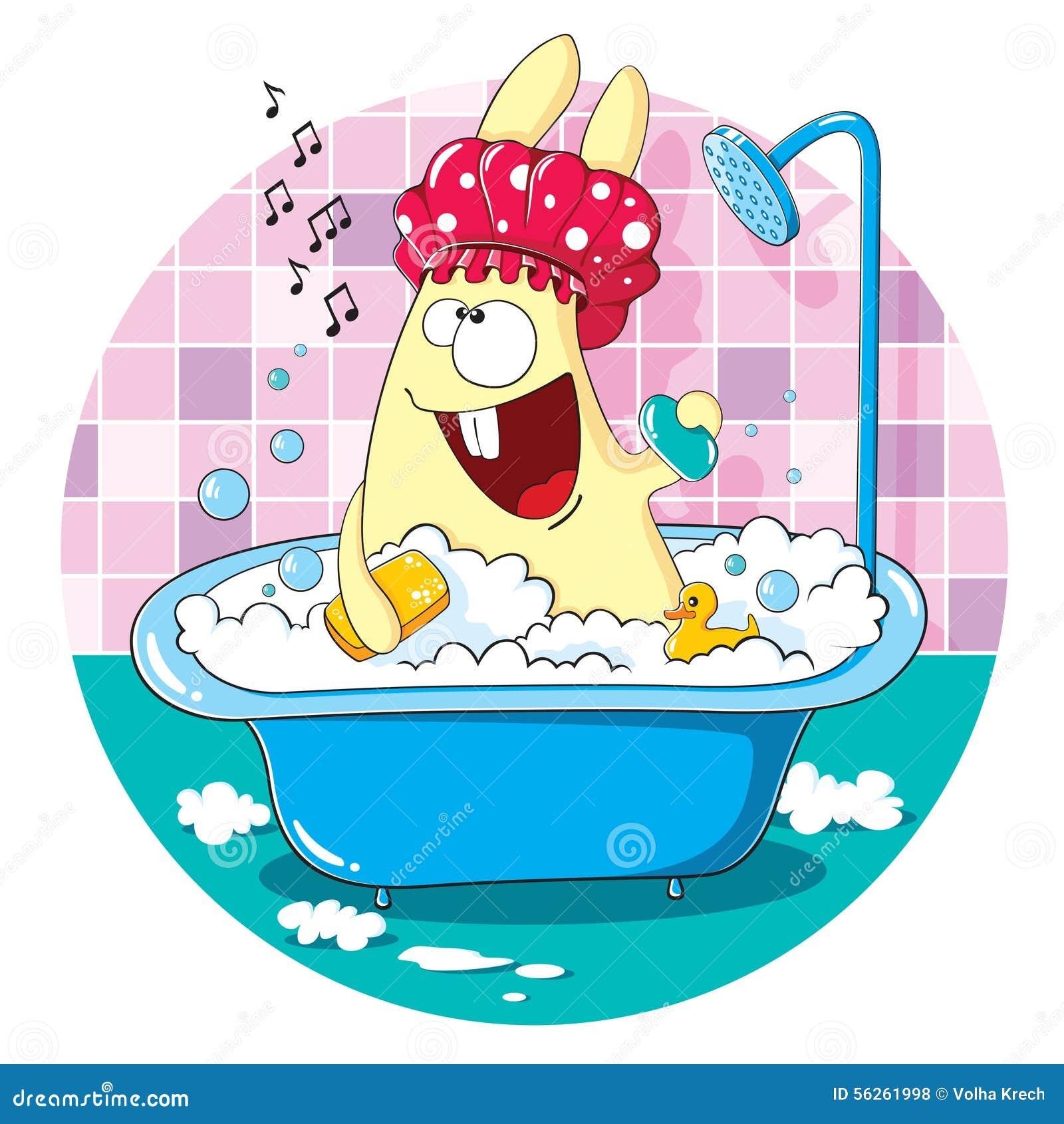 Cartoon Bunny Taking A Bath Stock Vector - Image: 56261998