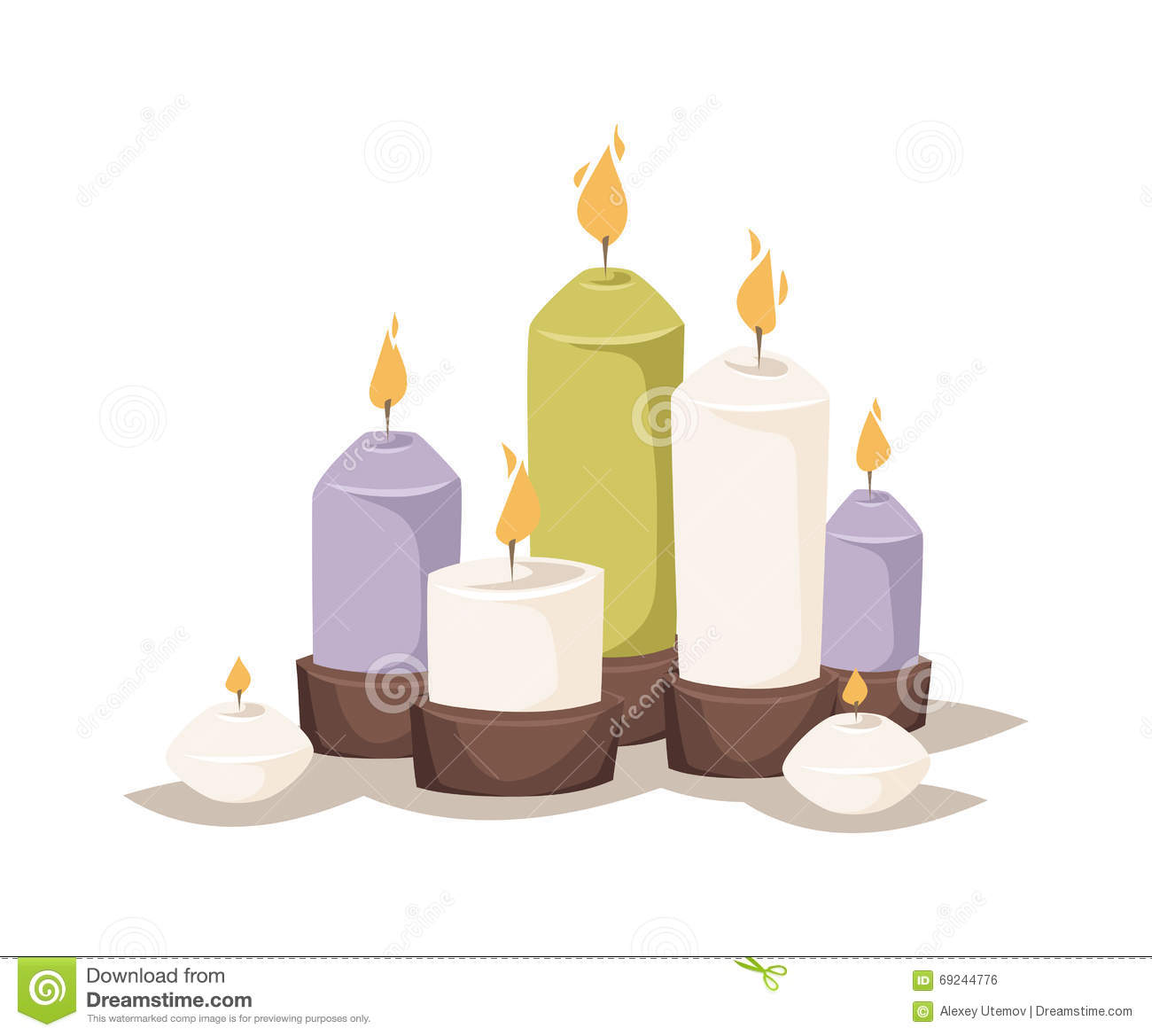 Cartoon Burning Candles With Candle Holder And Fire Wax