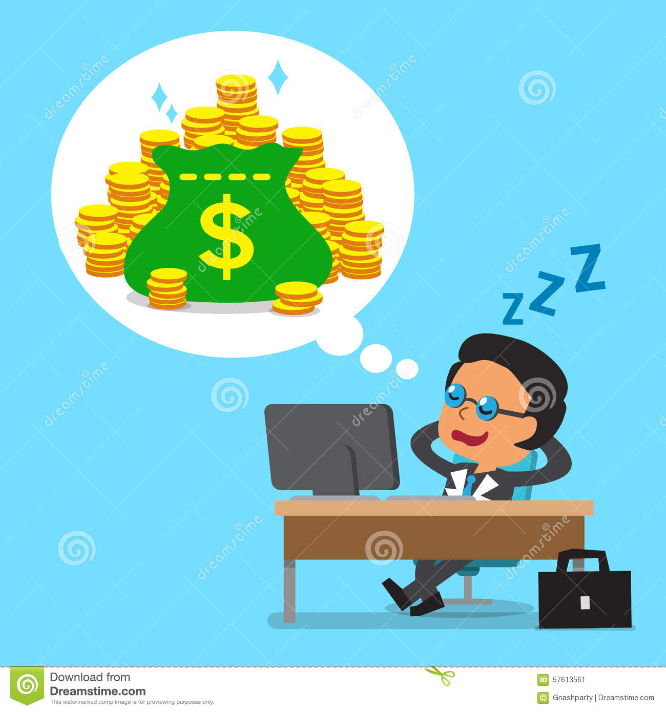 Cartoon Business Boss Falling Asleep And Dreaming About