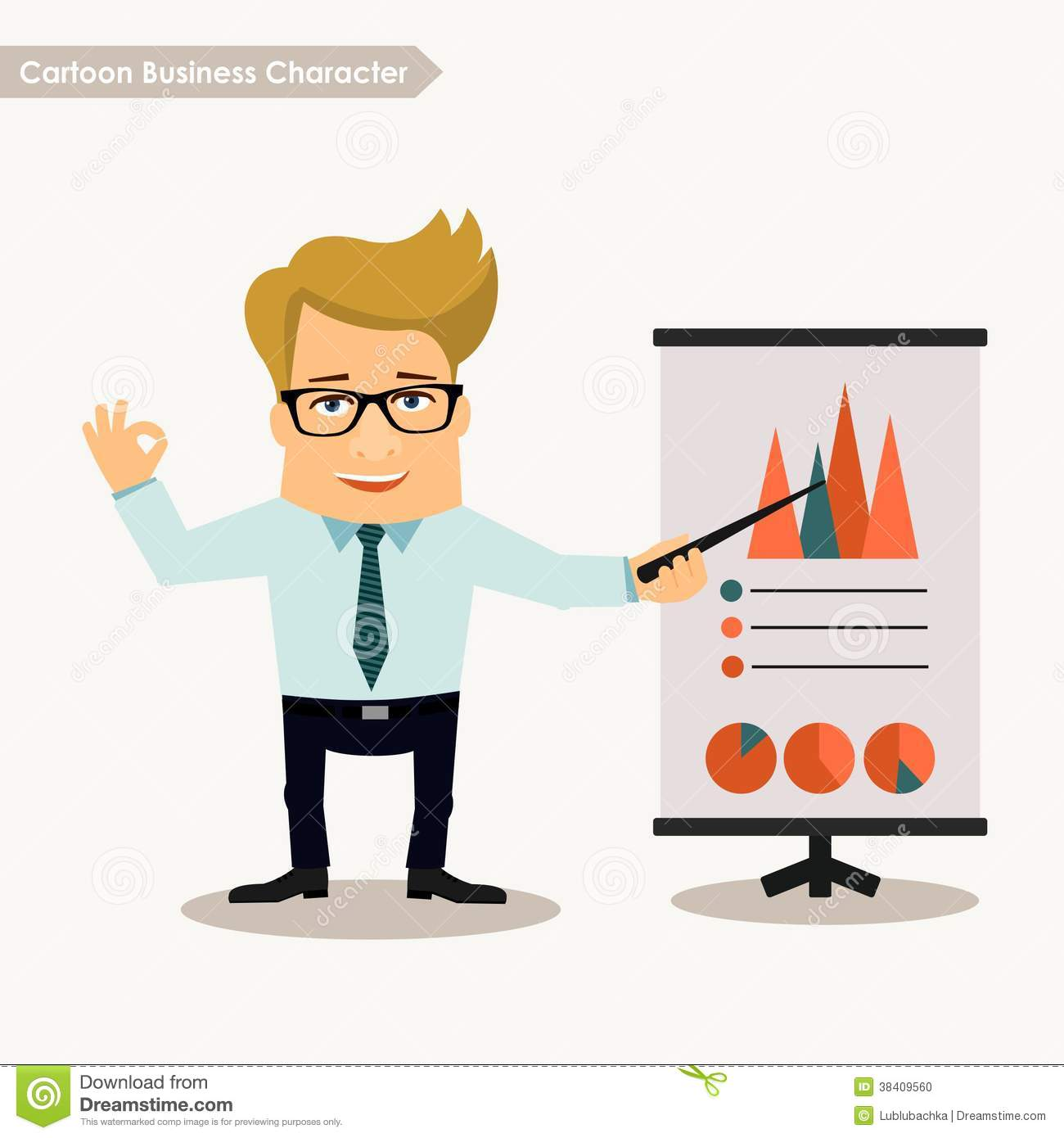 Character Design Presentation : Cartoon business character presentation concept stock
